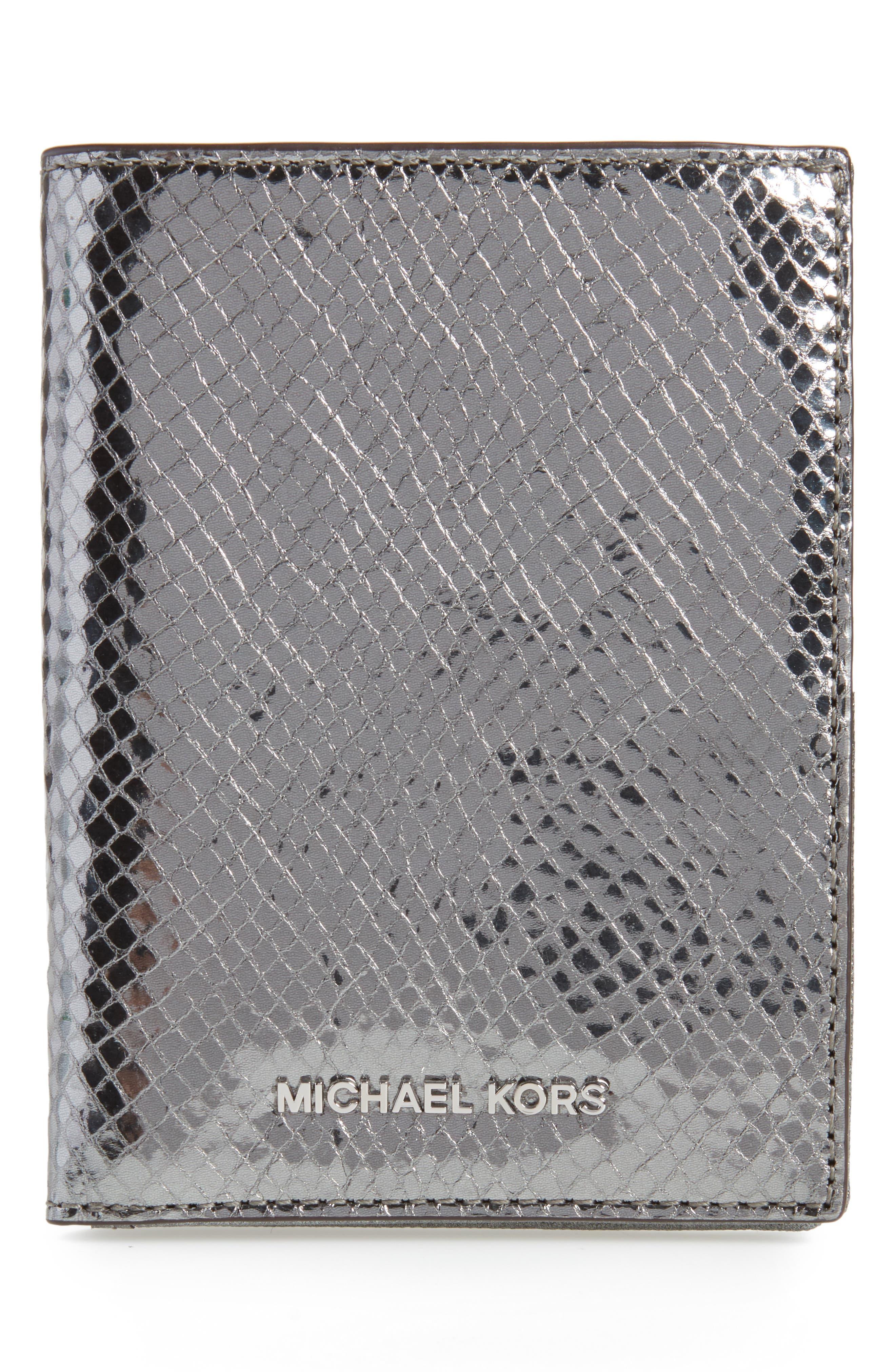 Money Pieces Leather Passport Wallet,                         Main,                         color,