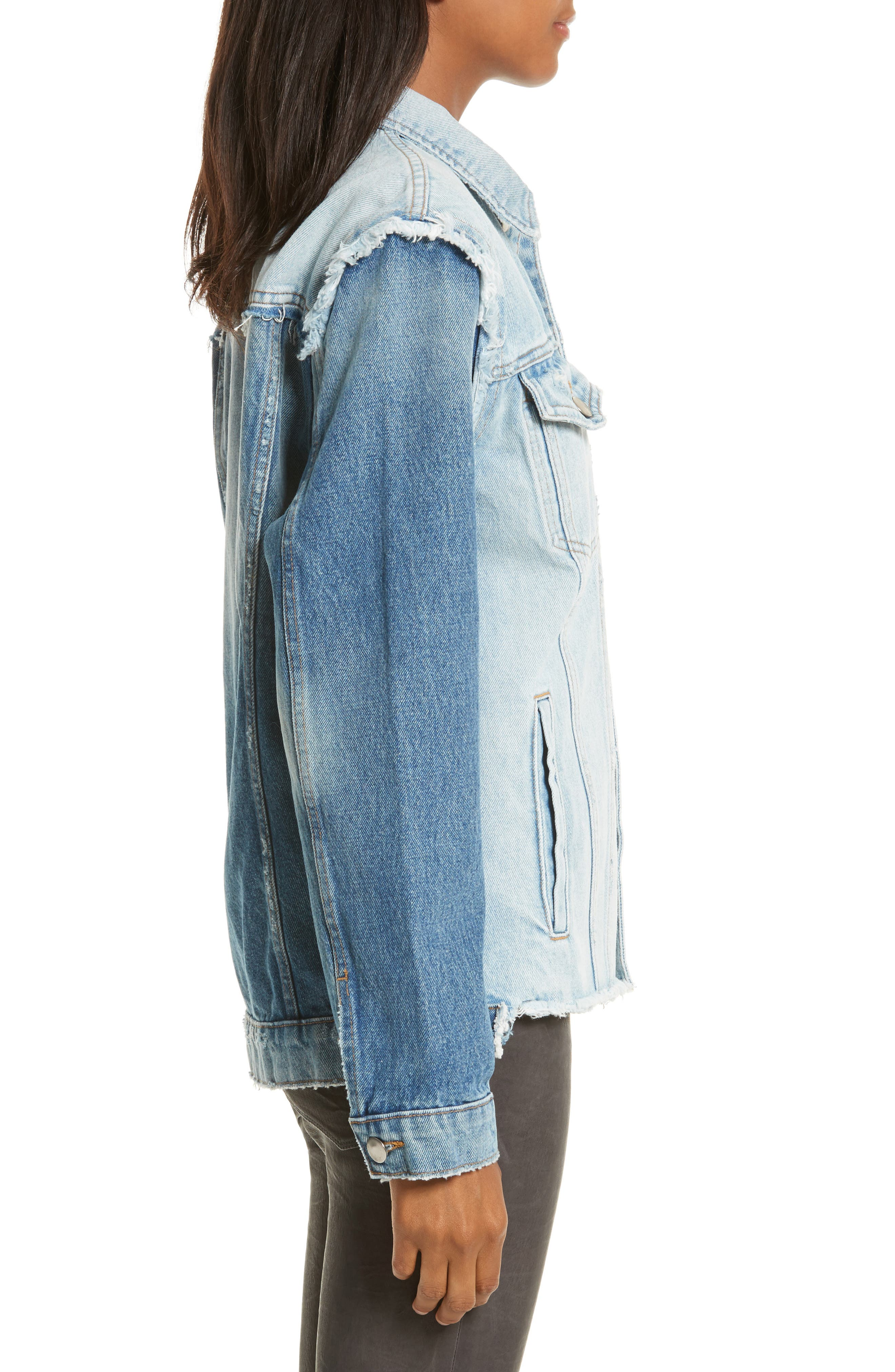 Le Reconstructed Denim Jacket,                             Alternate thumbnail 3, color,                             451