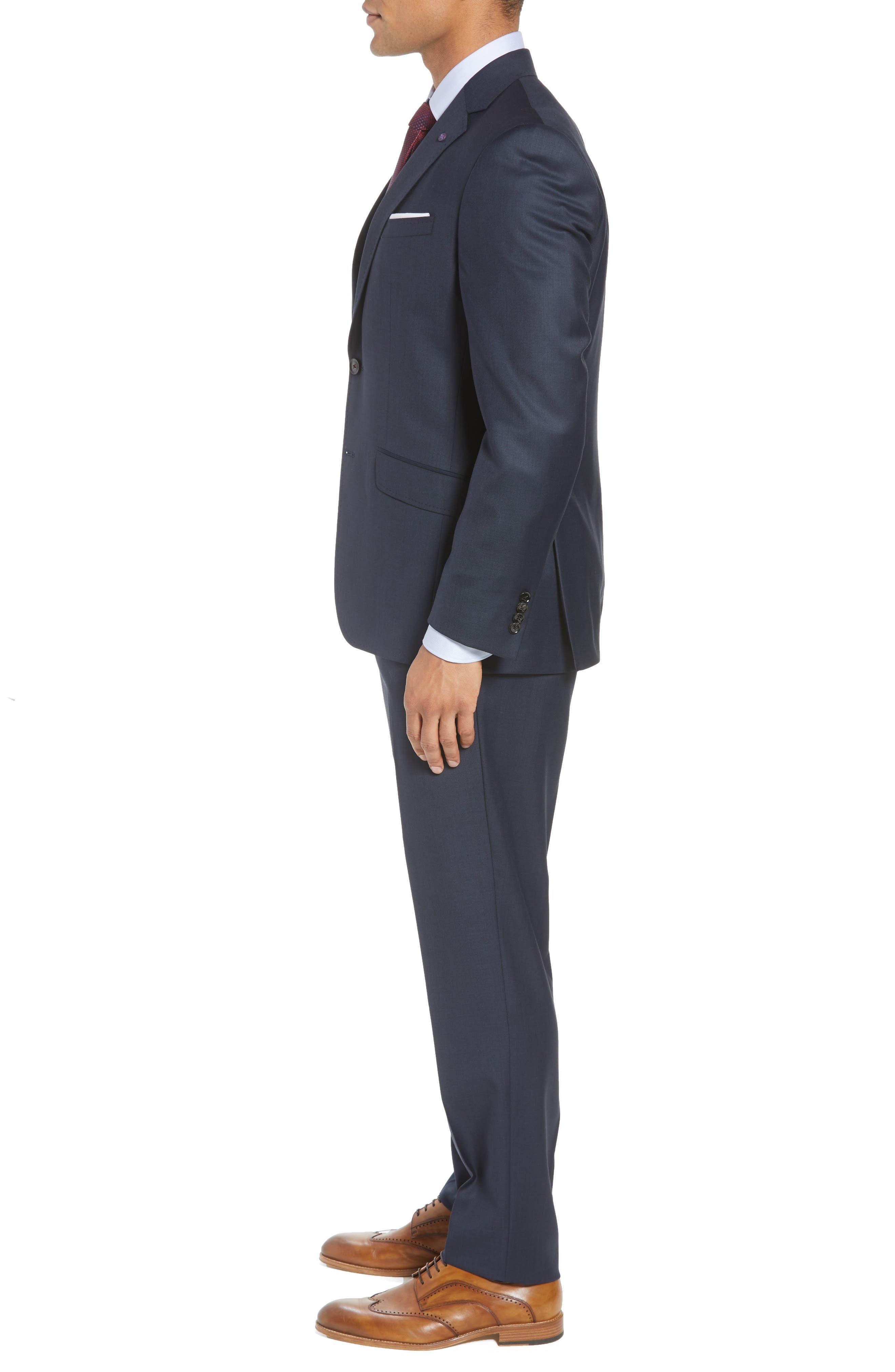 Jones Trim Fit Solid Wool Suit,                             Alternate thumbnail 3, color,                             BLUE