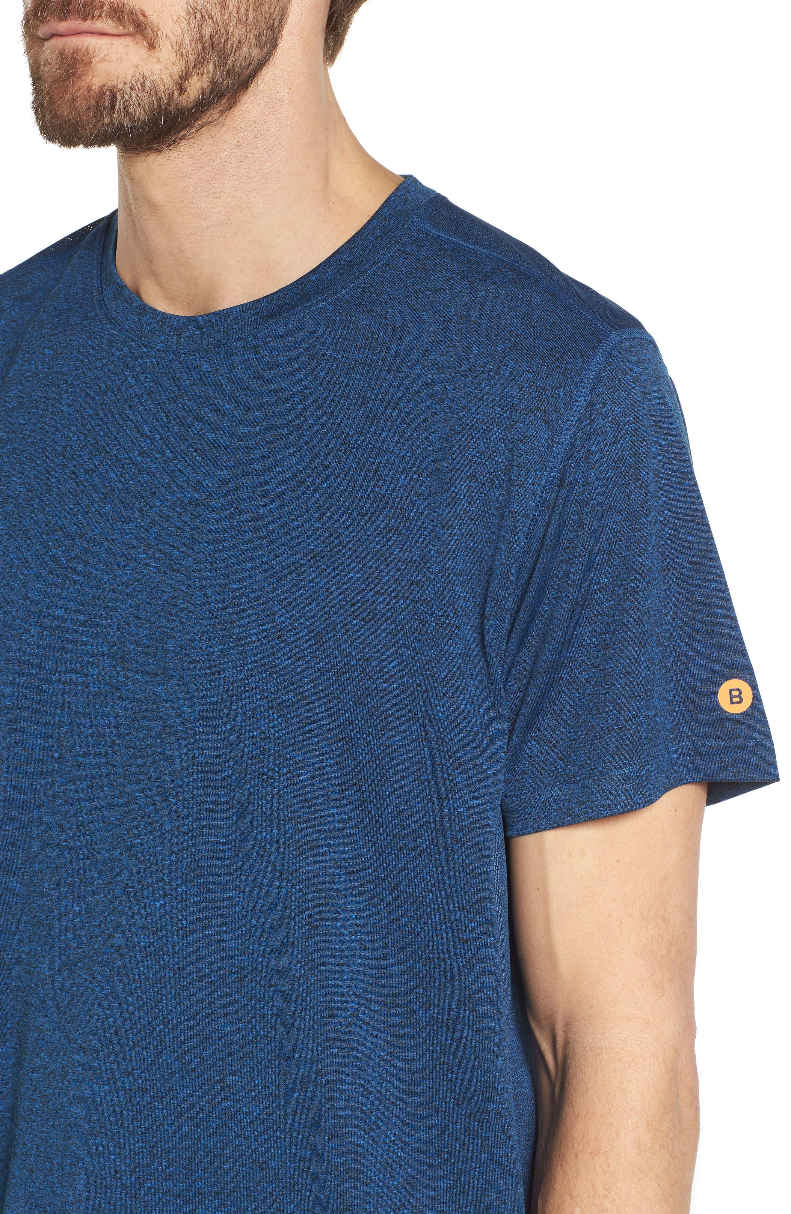 Goodsport Mesh Panel T-Shirt,                             Alternate thumbnail 4, color,                             LAPIS BLUE/ BLACK HEATHER