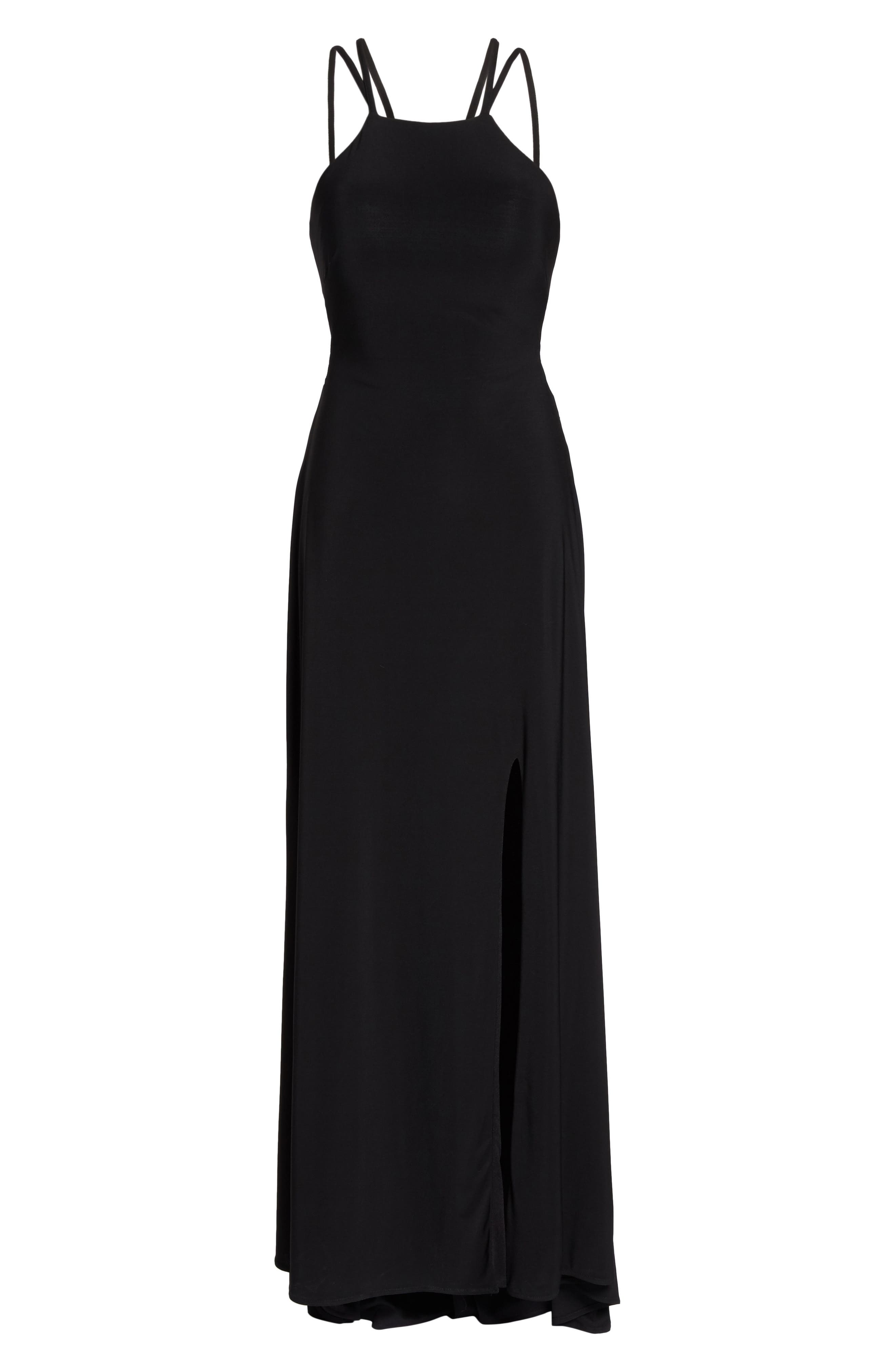 Strappy Trumpet Gown,                             Alternate thumbnail 6, color,                             BLACK