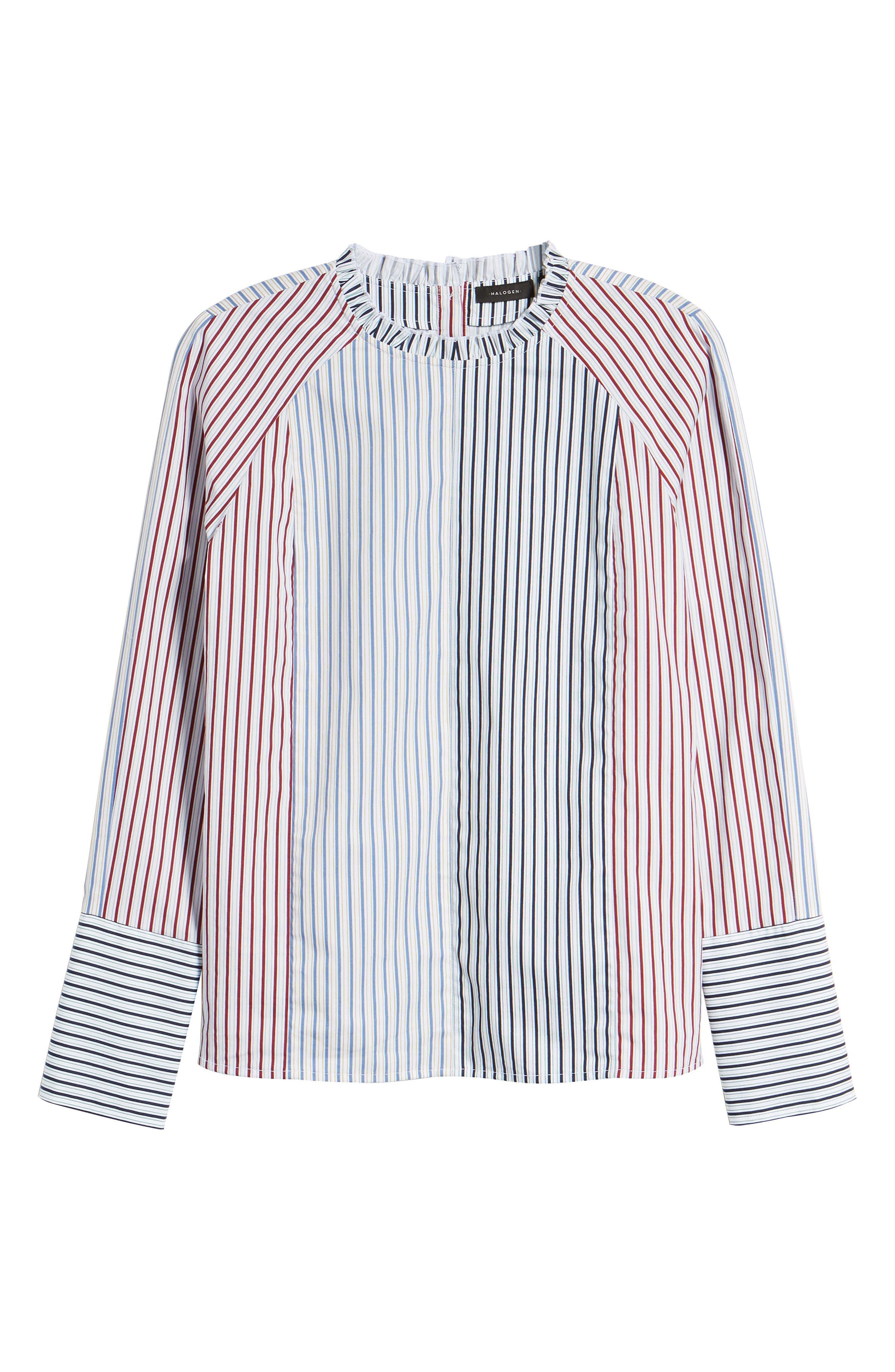 HALOGEN<SUP>®</SUP>,                             Mixed Stripe Cotton Shirt,                             Alternate thumbnail 6, color,                             100