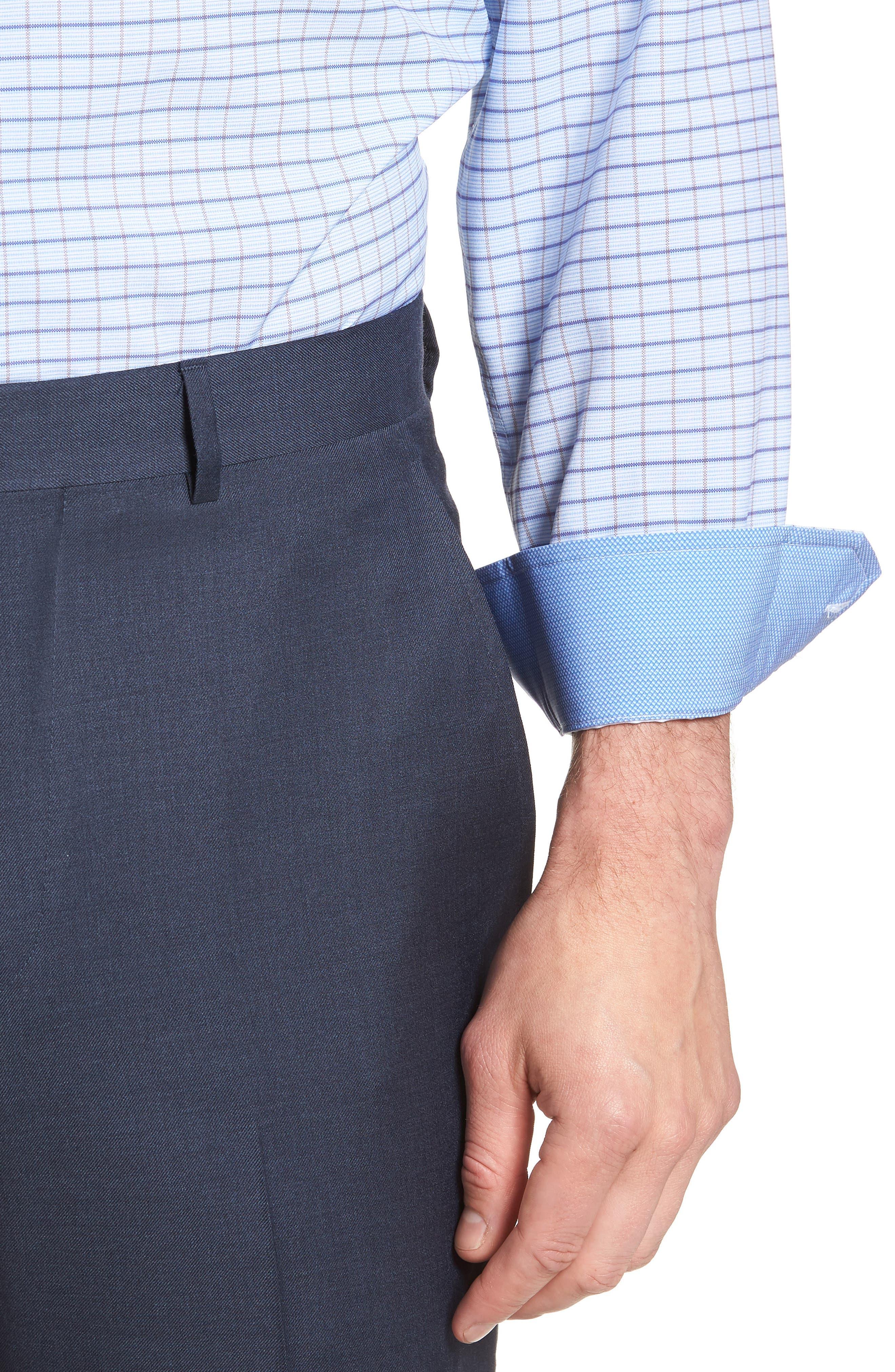 Trim Fit Check 4-Way Stretch Dress Shirt,                             Alternate thumbnail 2, color,                             BLUE