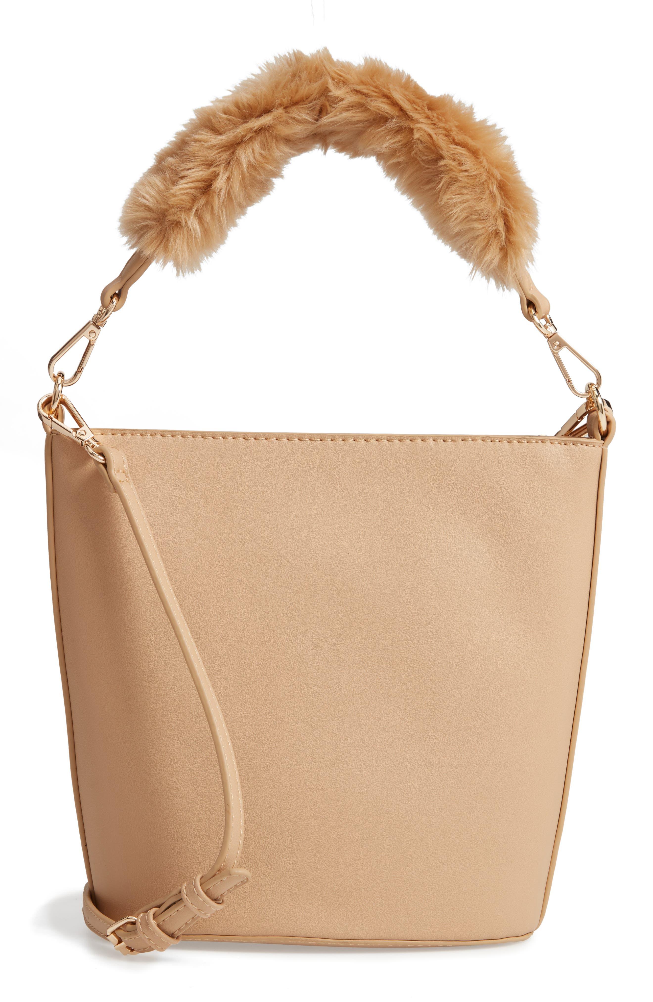 Faux Fur Handle Medium Crossbody Bag,                             Alternate thumbnail 3, color,                             TAN