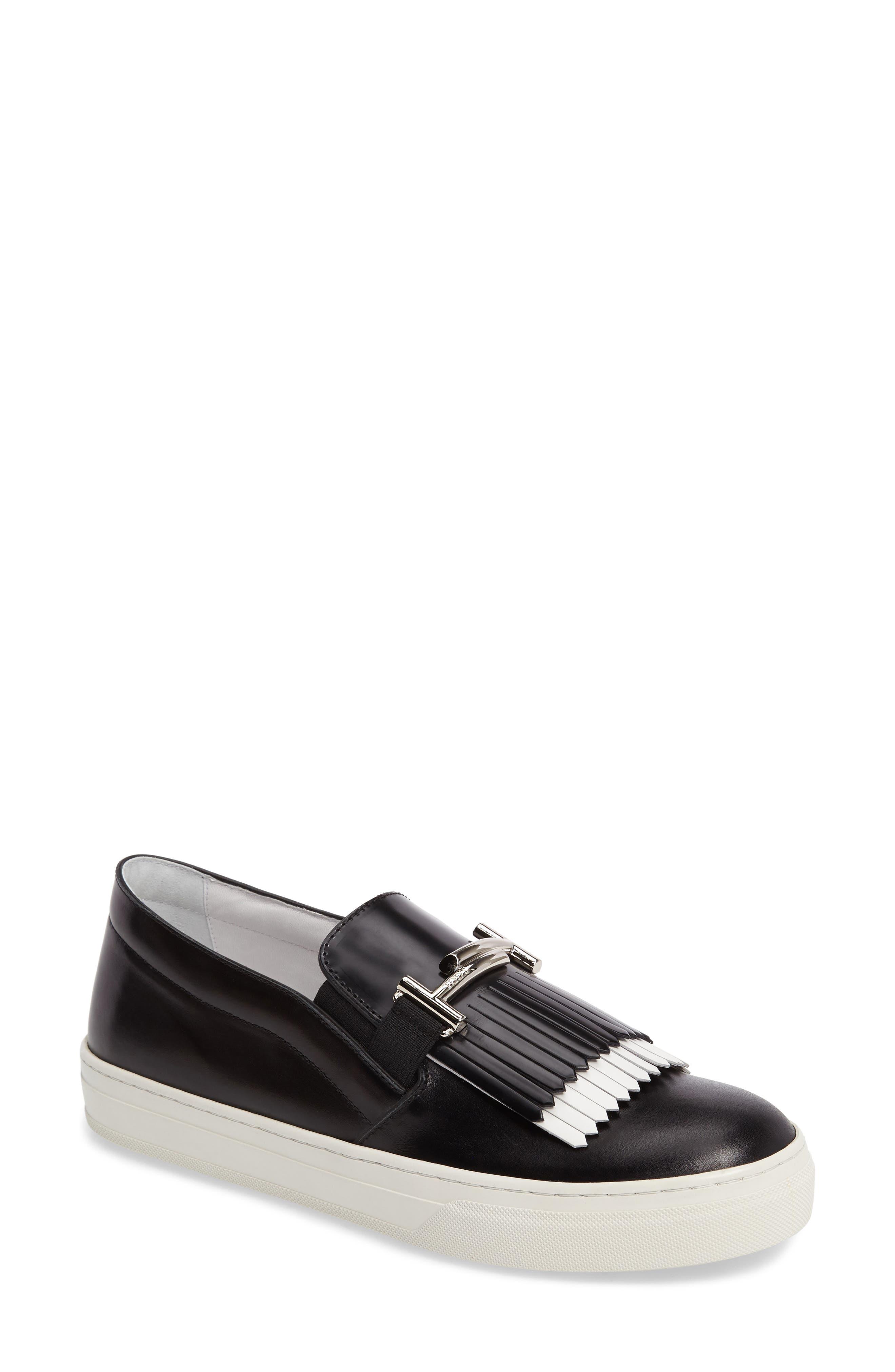 Double-T Kiltie Fringe Slip-On Sneaker,                         Main,                         color, 001