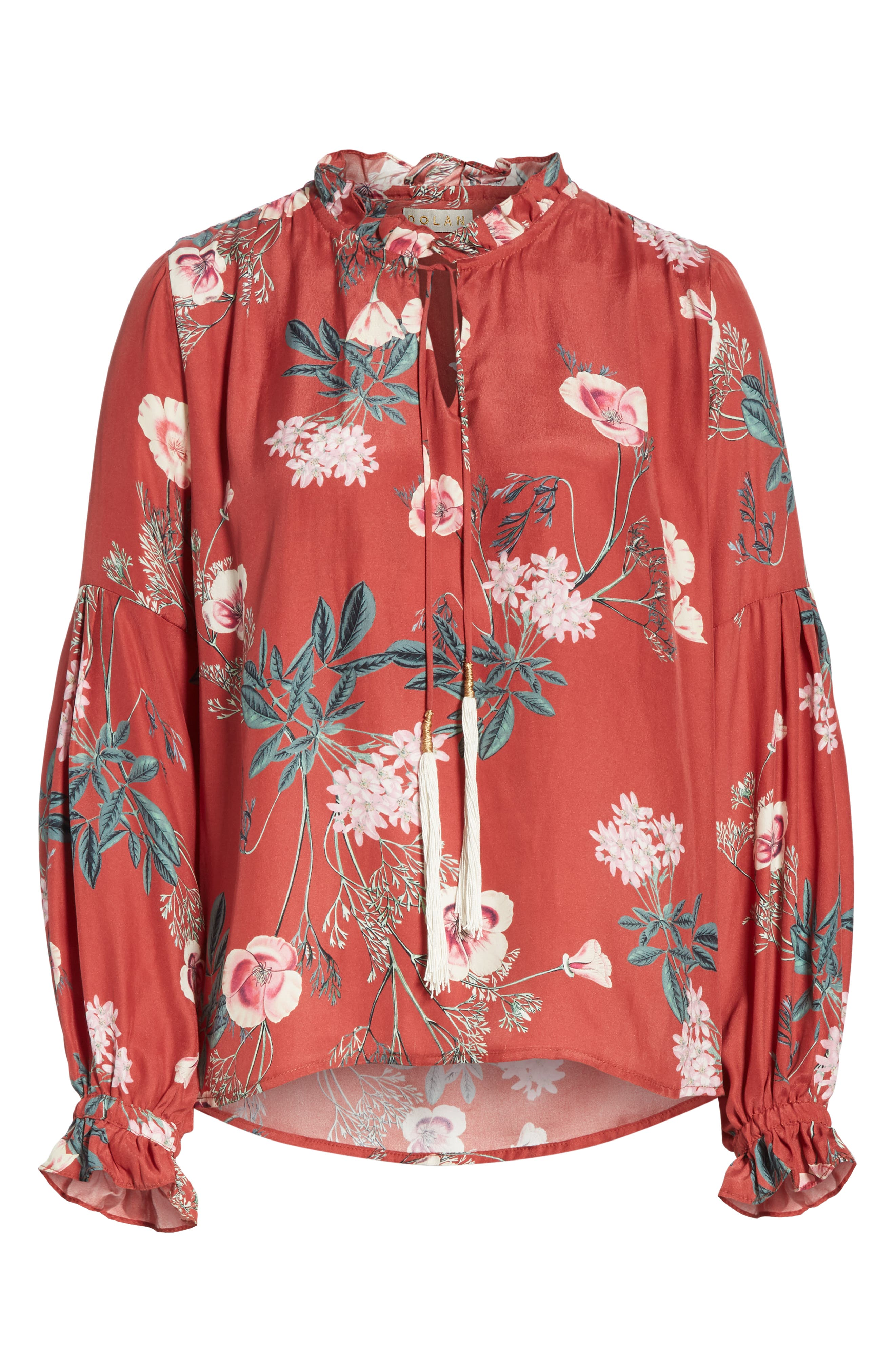 Split Neck Silk Peasant Top,                             Alternate thumbnail 6, color,                             RED BLOSSOM FLORAL