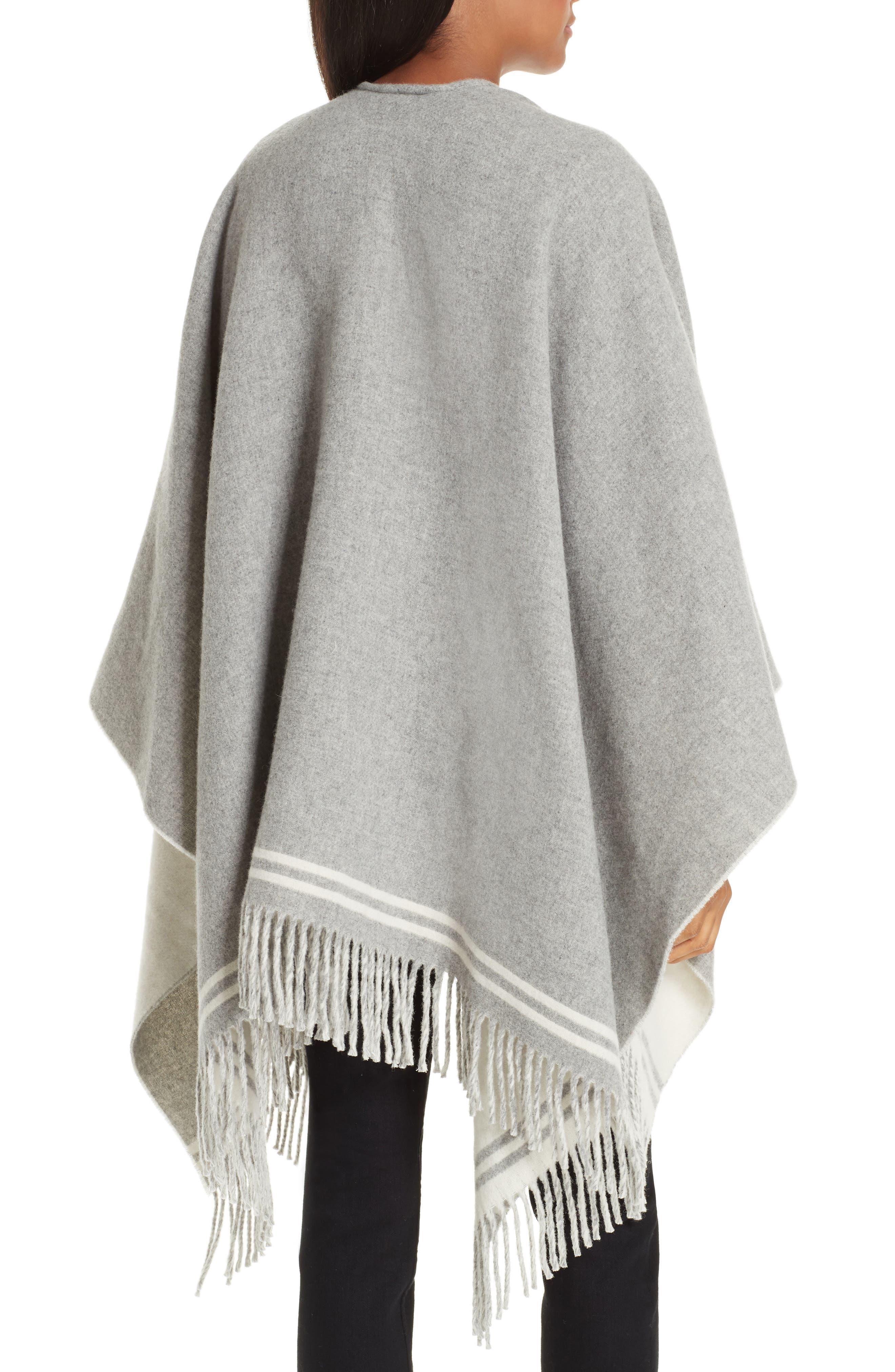 Stripe Merino Wool Poncho,                             Alternate thumbnail 3, color,                             GREY MULTI