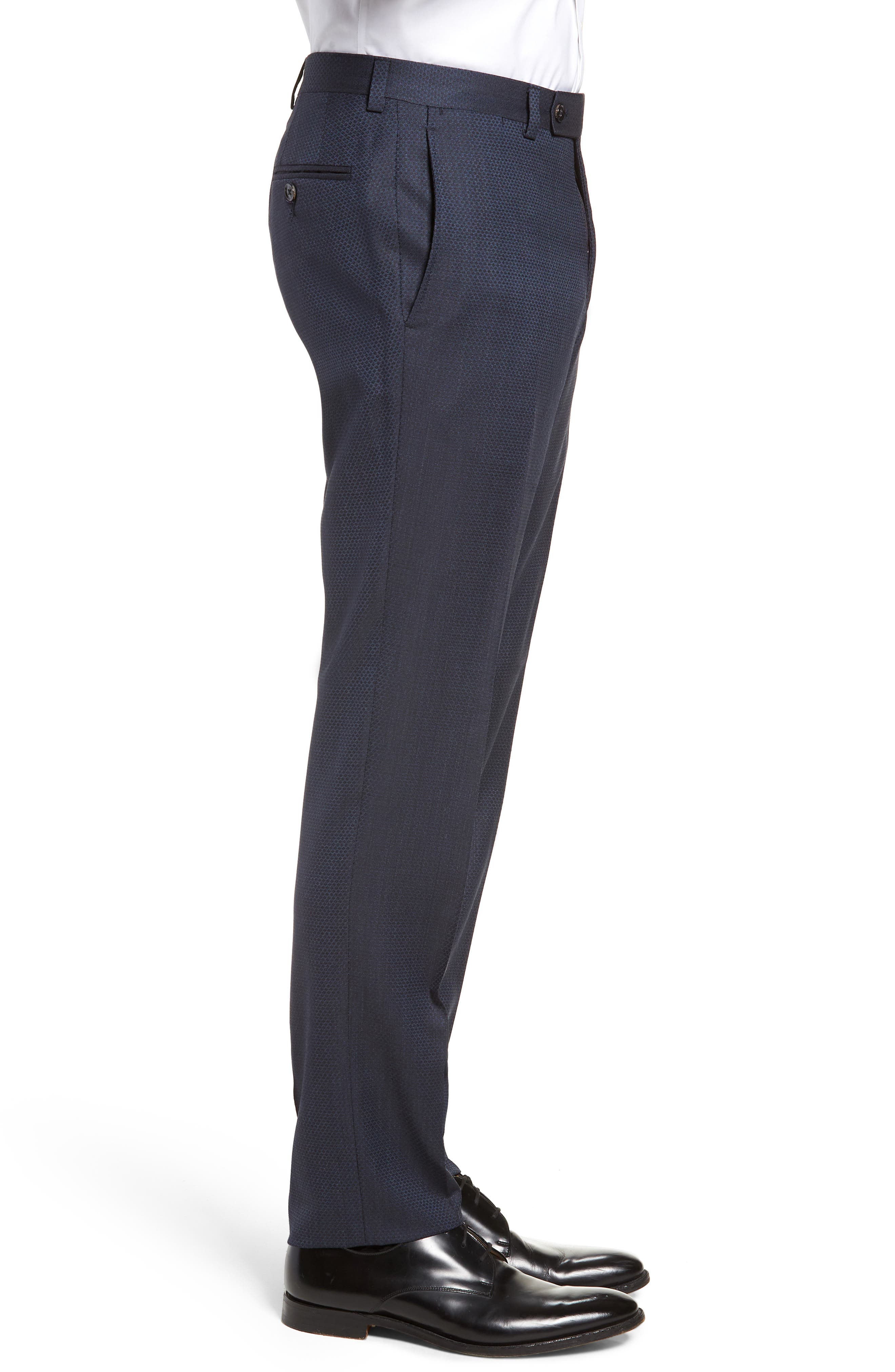 Jefferson Flat Front Solid Wool Trousers,                             Alternate thumbnail 3, color,                             400