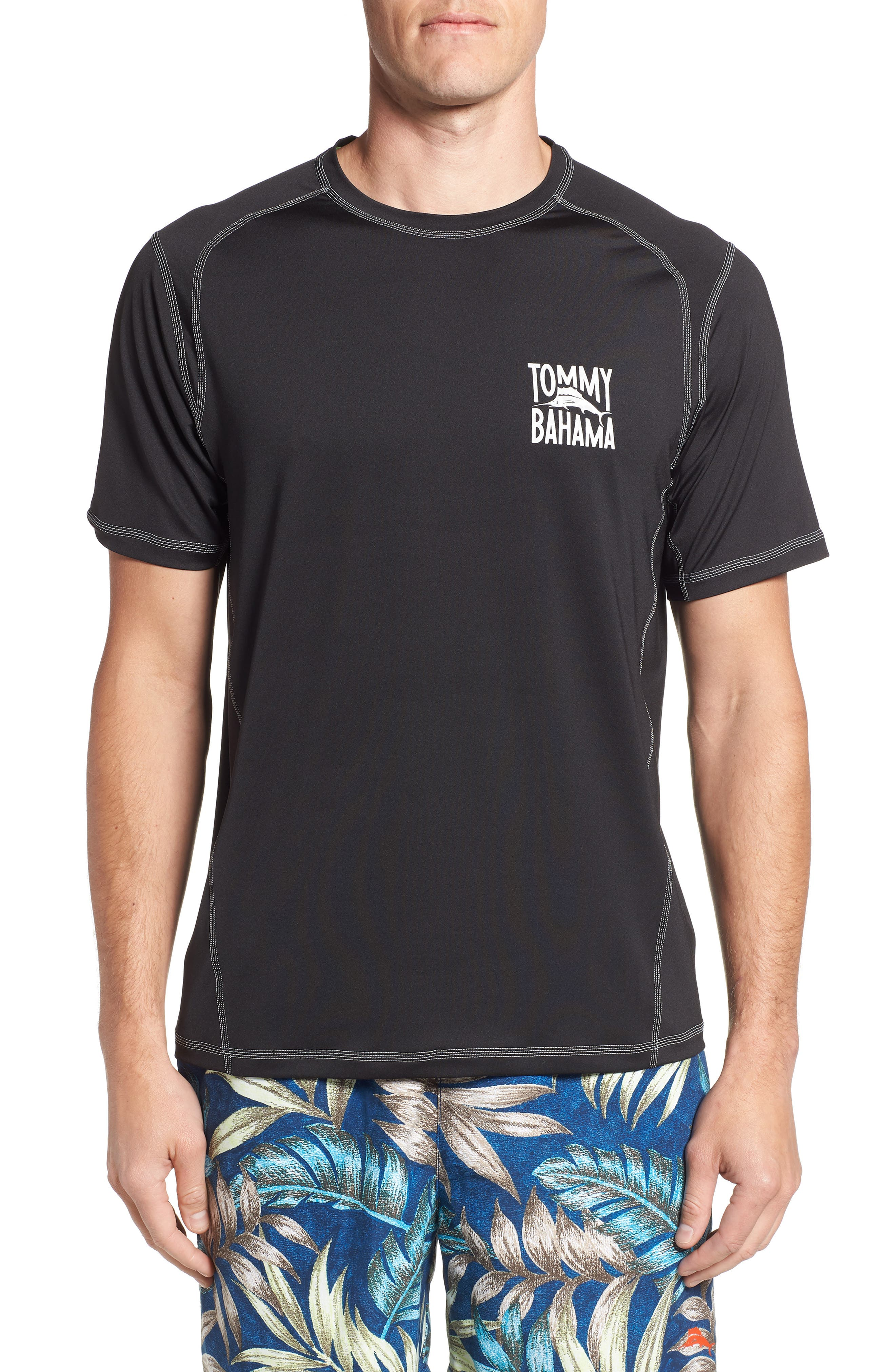 IslandActive<sup>™</sup> Beach Pro Rashguard T-Shirt,                         Main,                         color, BLACK