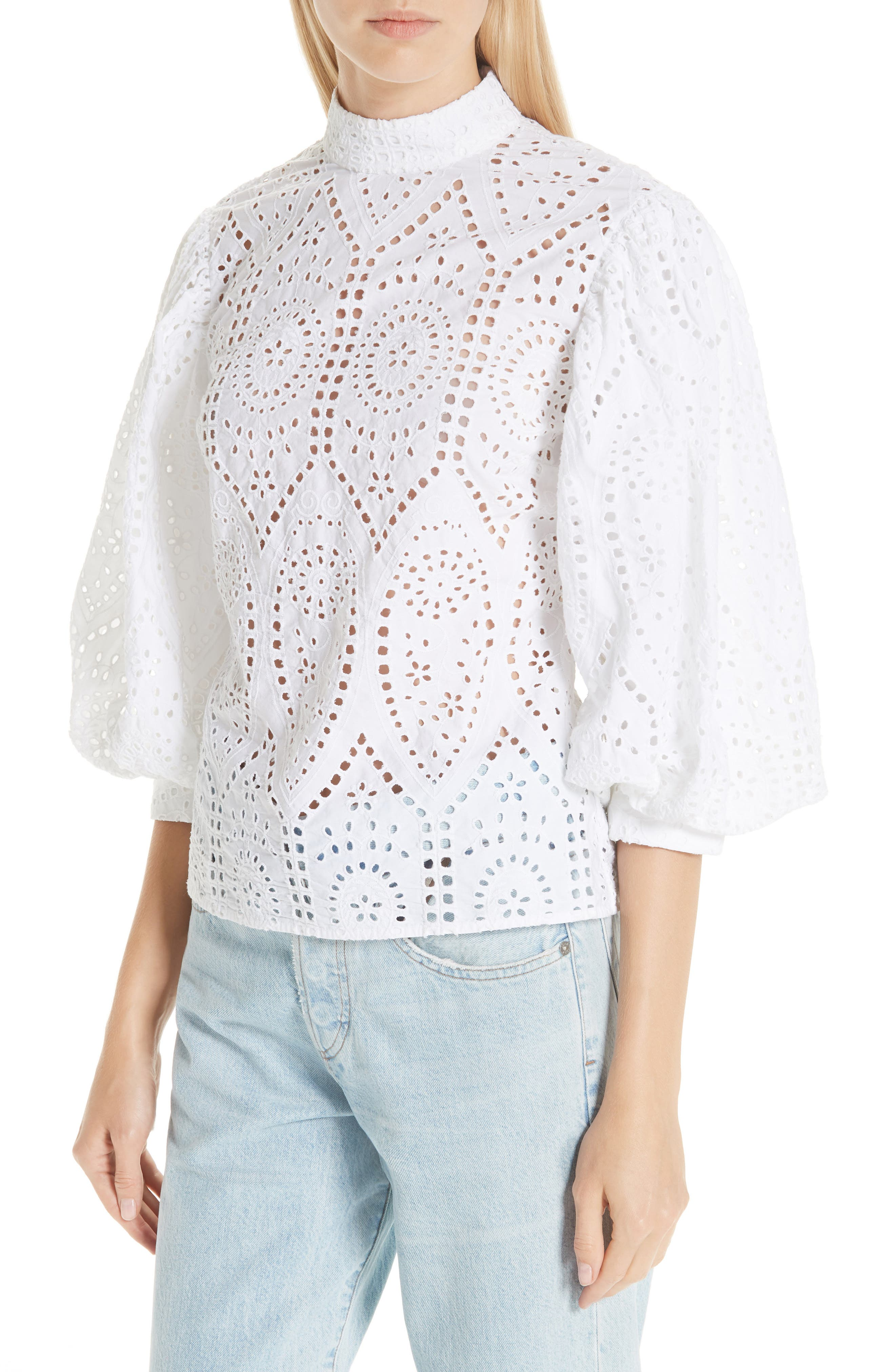 Broderie Anglaise Shirt,                             Alternate thumbnail 4, color,                             BRIGHT WHITE 151