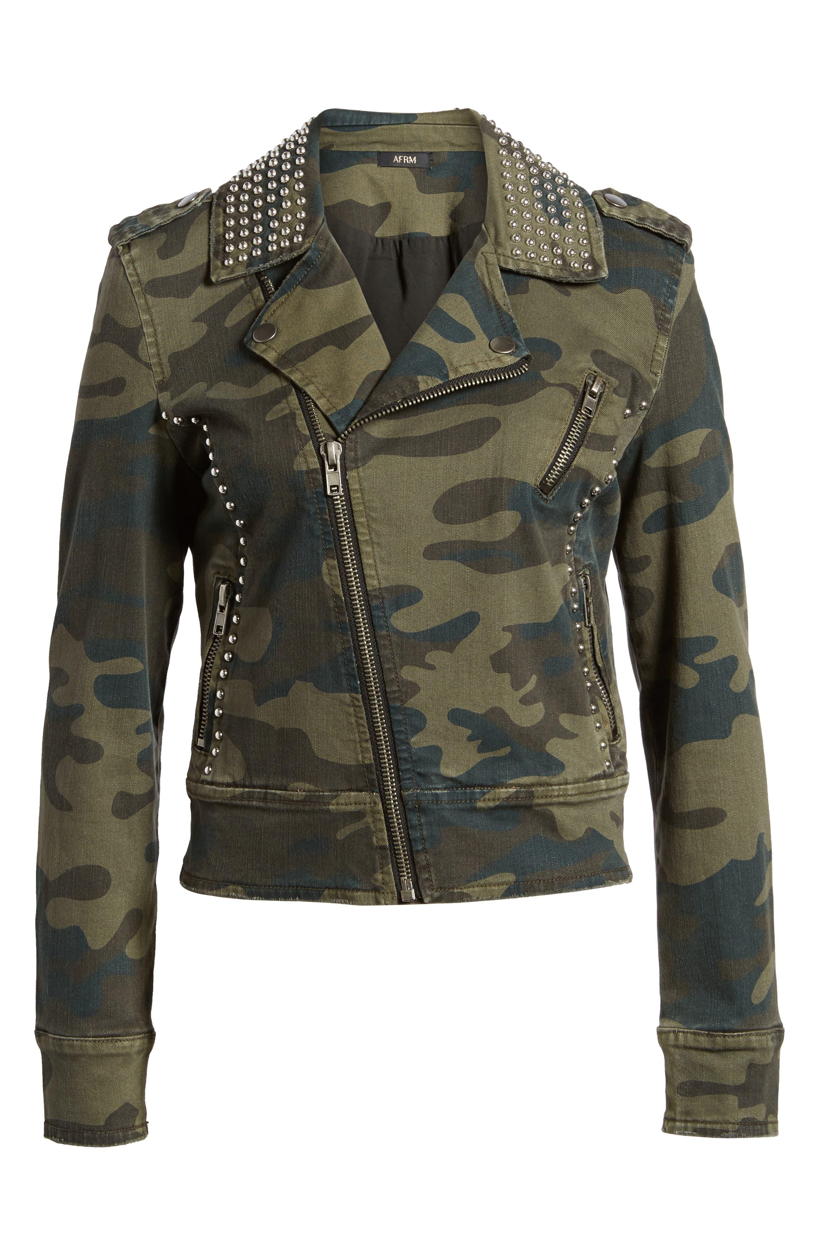AFRM Studded Leopard Print Moto Jacket,                             Alternate thumbnail 10, color,