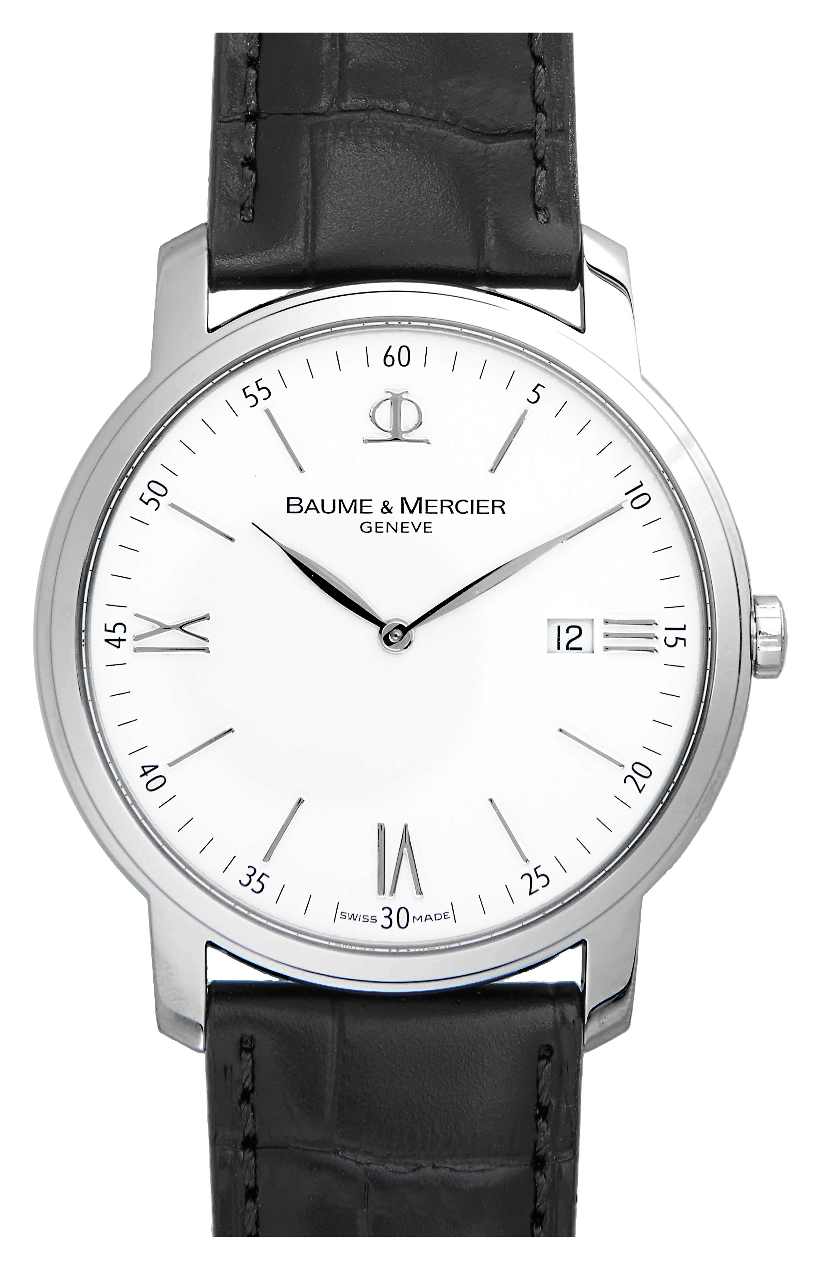 Baume & Mercier Classima Leather Strap Watch, 42mm,                             Main thumbnail 1, color,                             SILVER/ BLACK