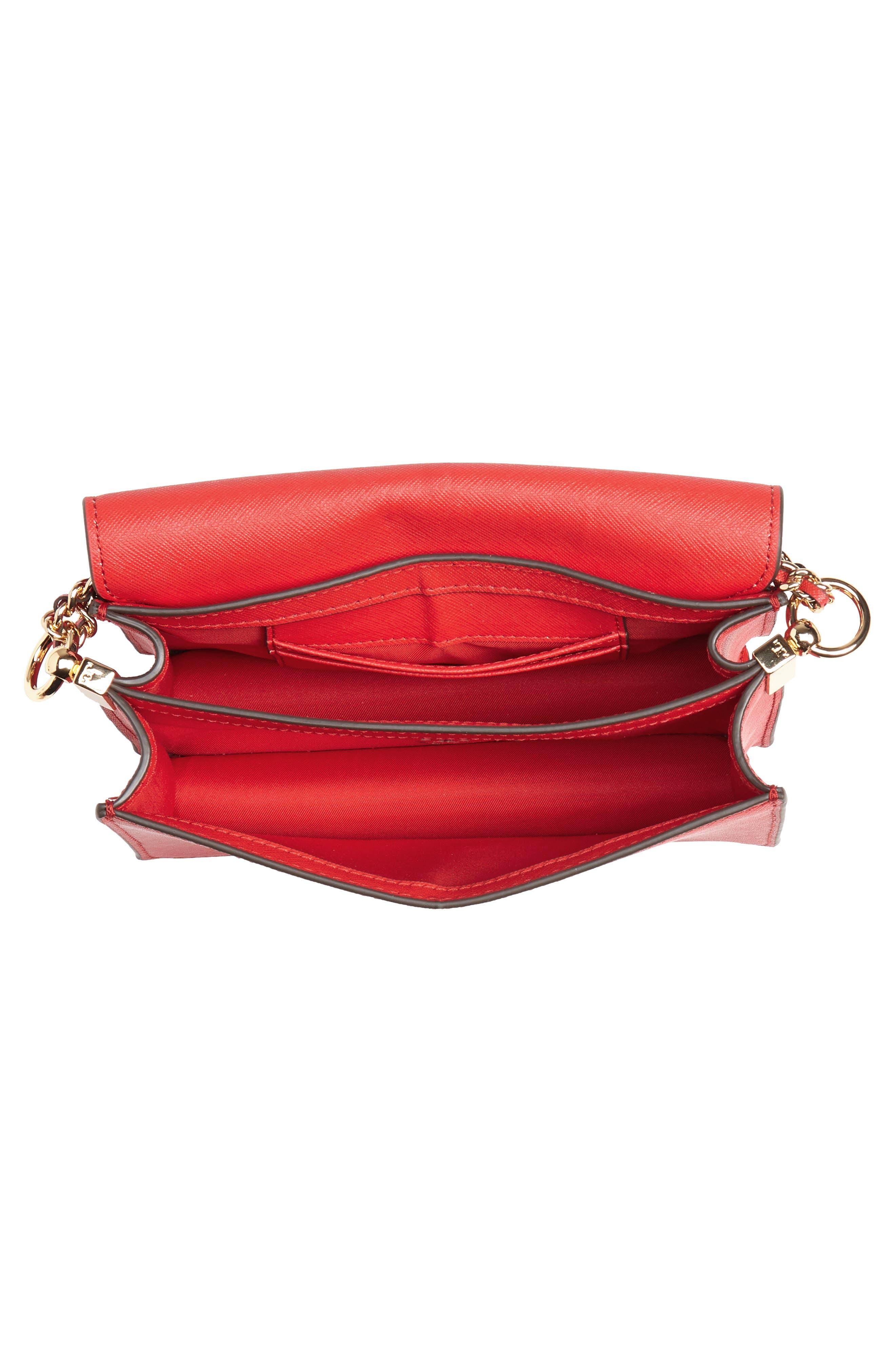 Mini Robinson Convertible Leather Shoulder Bag,                             Alternate thumbnail 4, color,                             BRILLIANT RED