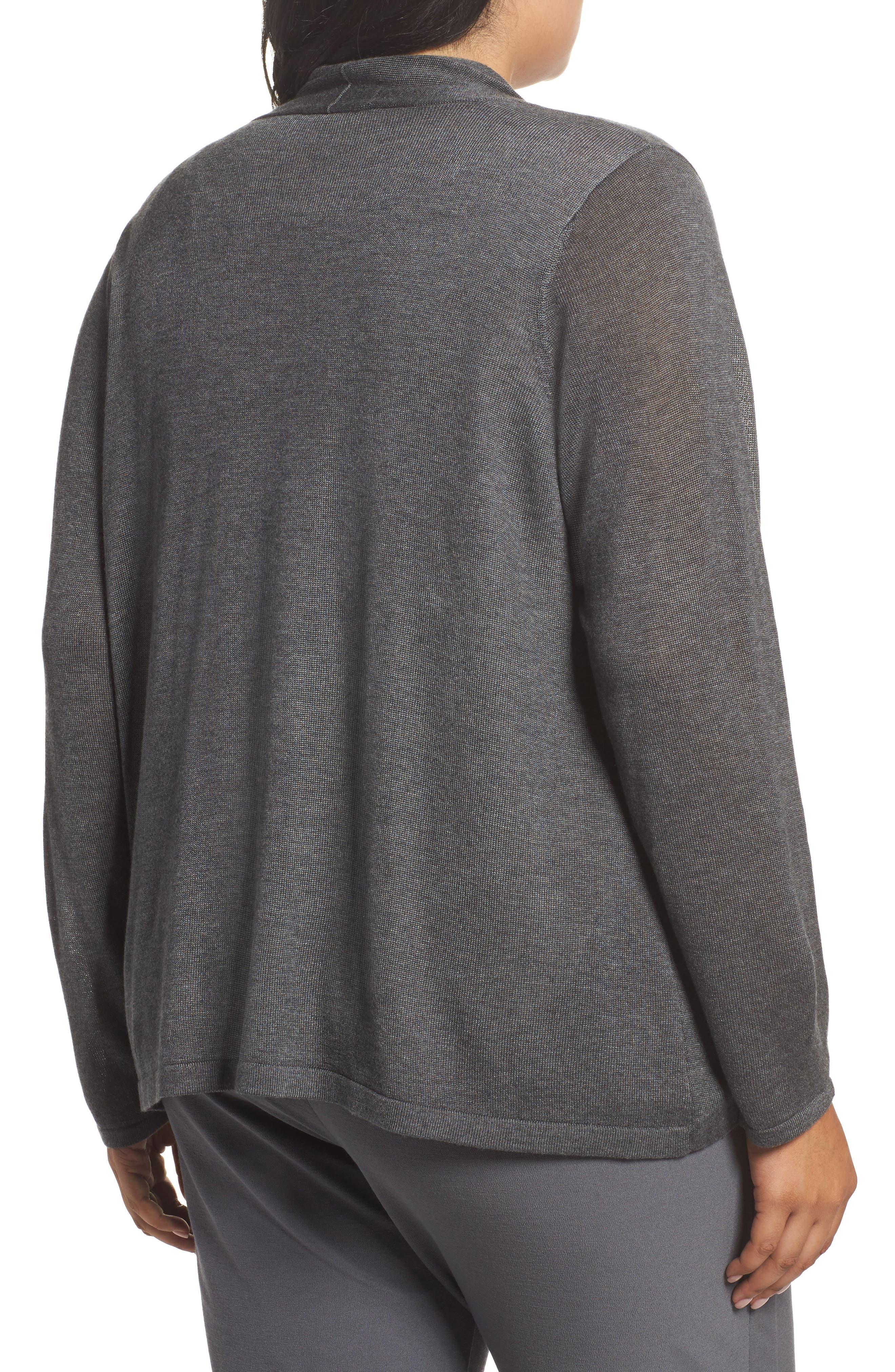 Faux Wrap Tencel<sup>®</sup> Lyocell & Merino Wool Sweater,                             Alternate thumbnail 2, color,