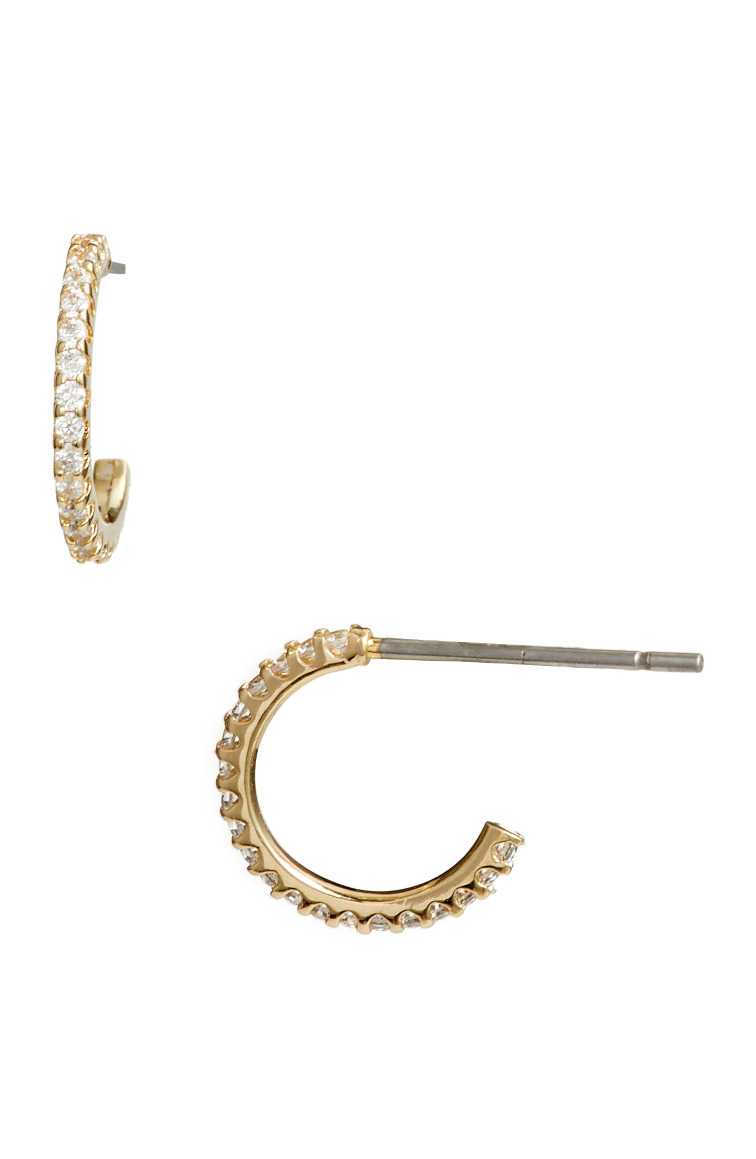 Pavé Huggie Hoop Earrings, Main, color, CLEAR- GOLD