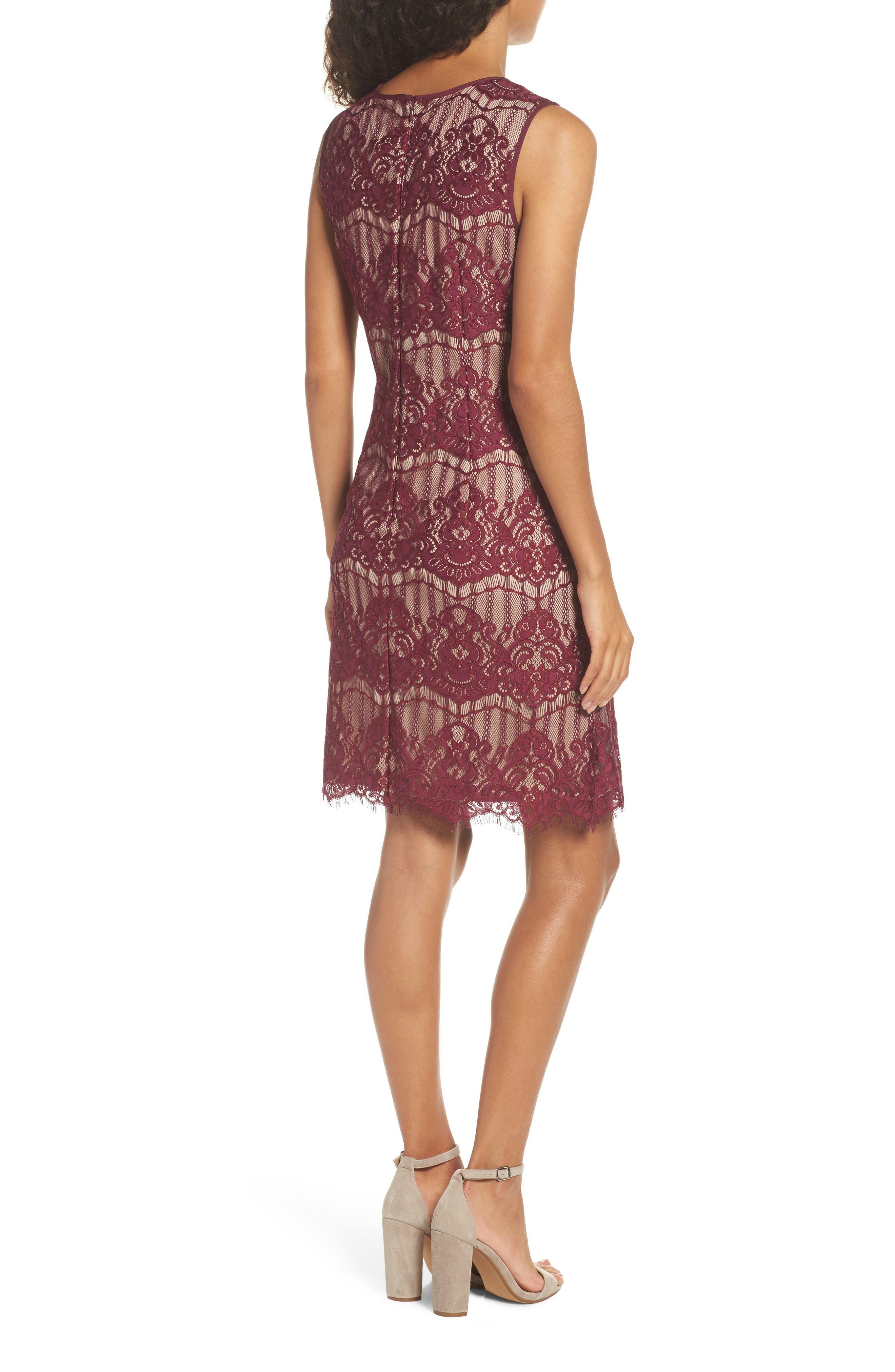 Scalloped Lace Sheath Dress,                             Alternate thumbnail 2, color,                             640