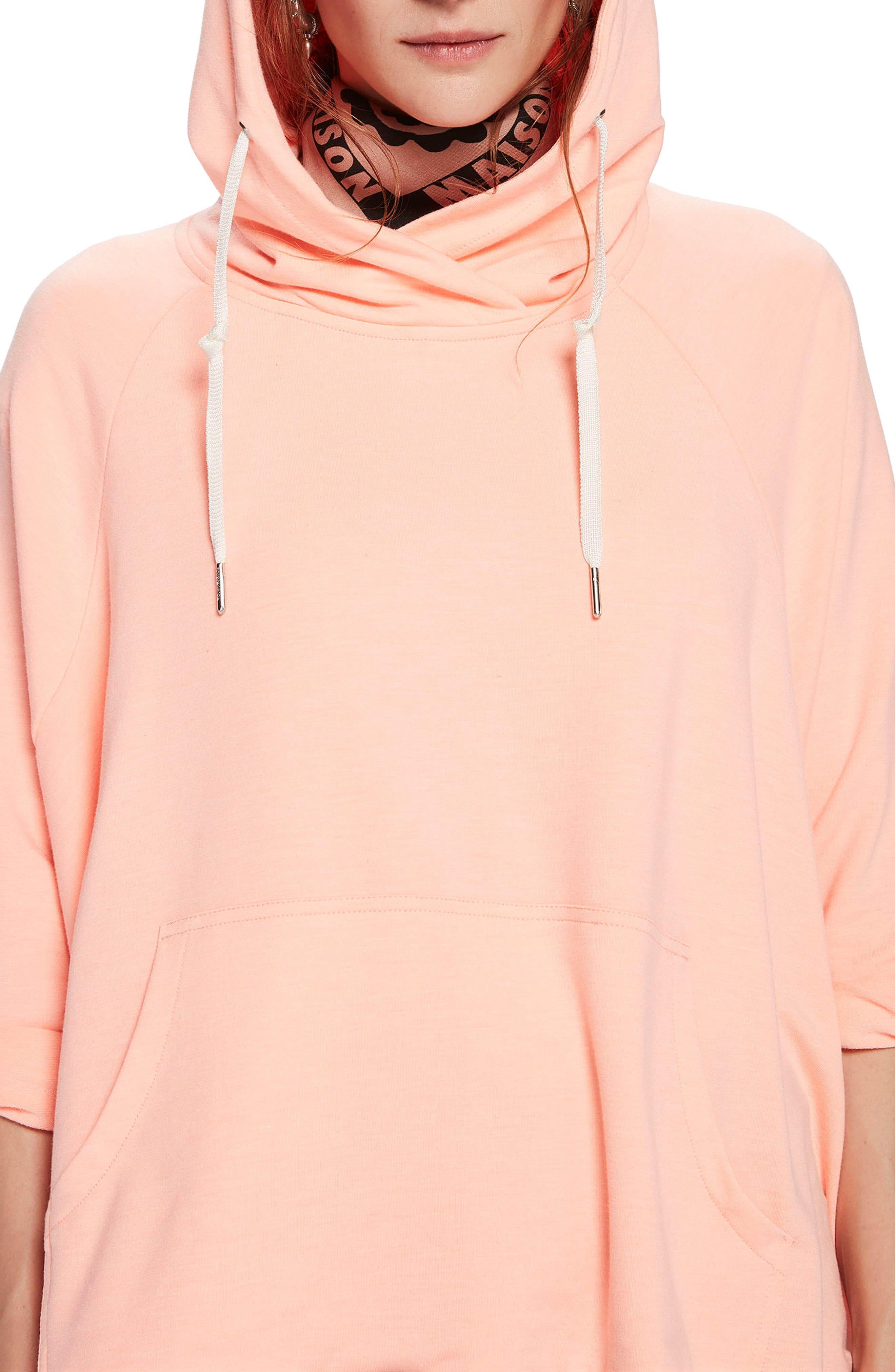 Boxy Fit Hoodie,                             Alternate thumbnail 4, color,                             COLOR 2015 CORAL