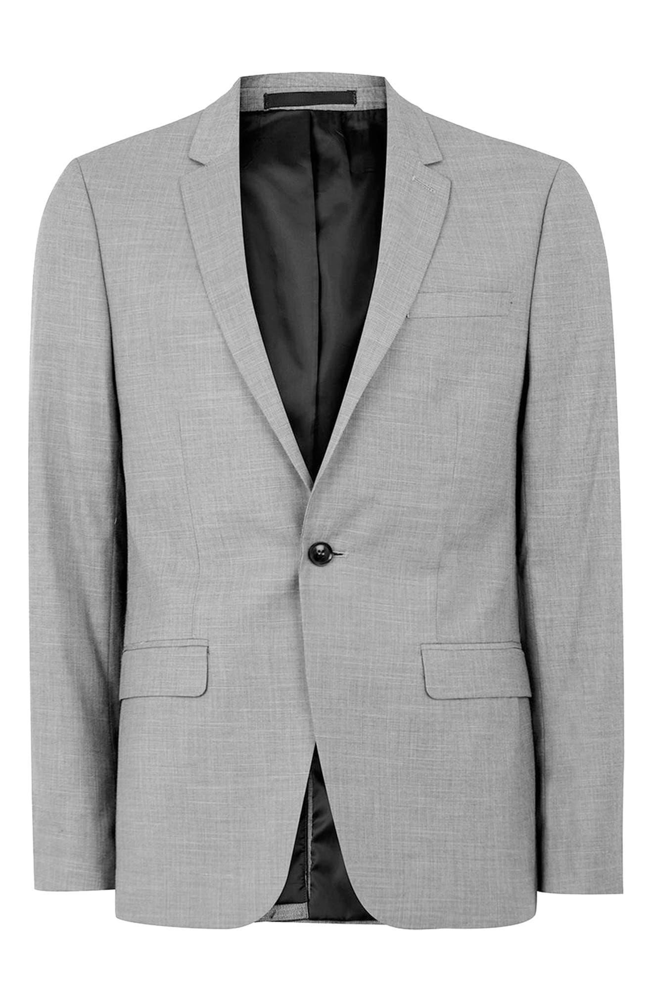 Skinny Fit Suit Jacket,                             Alternate thumbnail 4, color,                             GREY