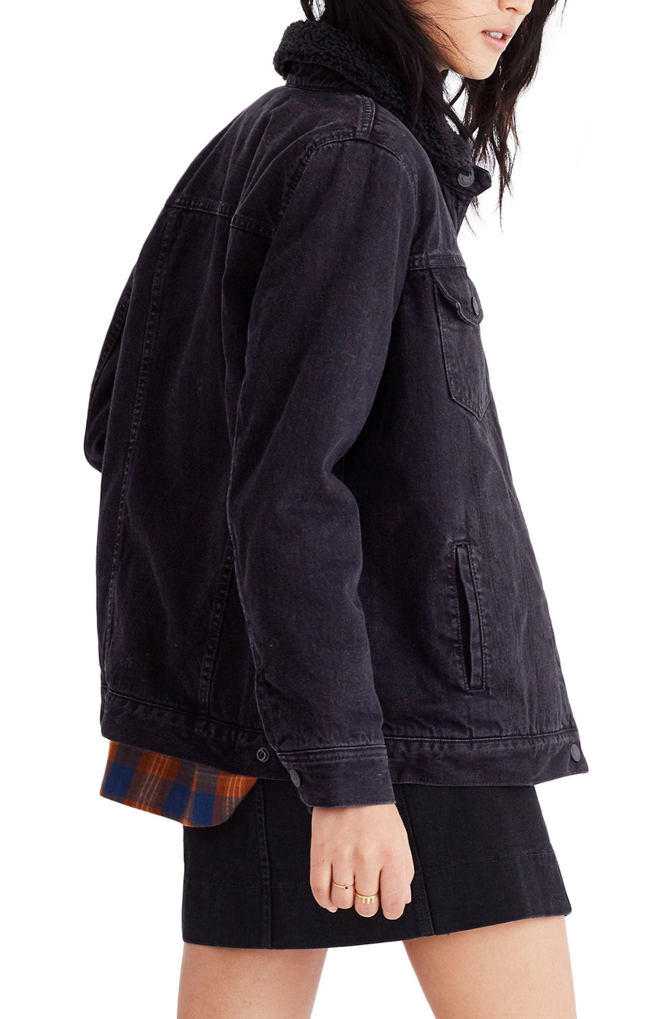 Oversize Denim Jacket with Fleece Collar,                             Alternate thumbnail 2, color,