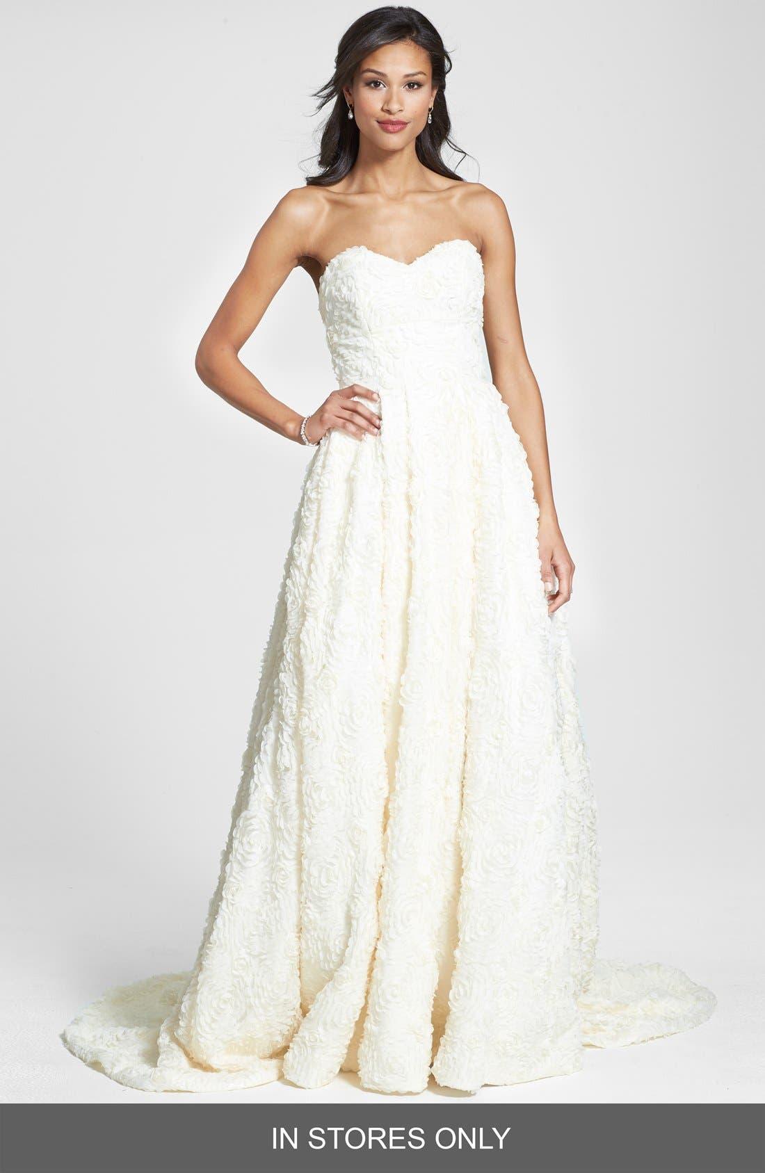 Delia Rosette Silk Blend Lace Chiffon Dress,                             Main thumbnail 1, color,