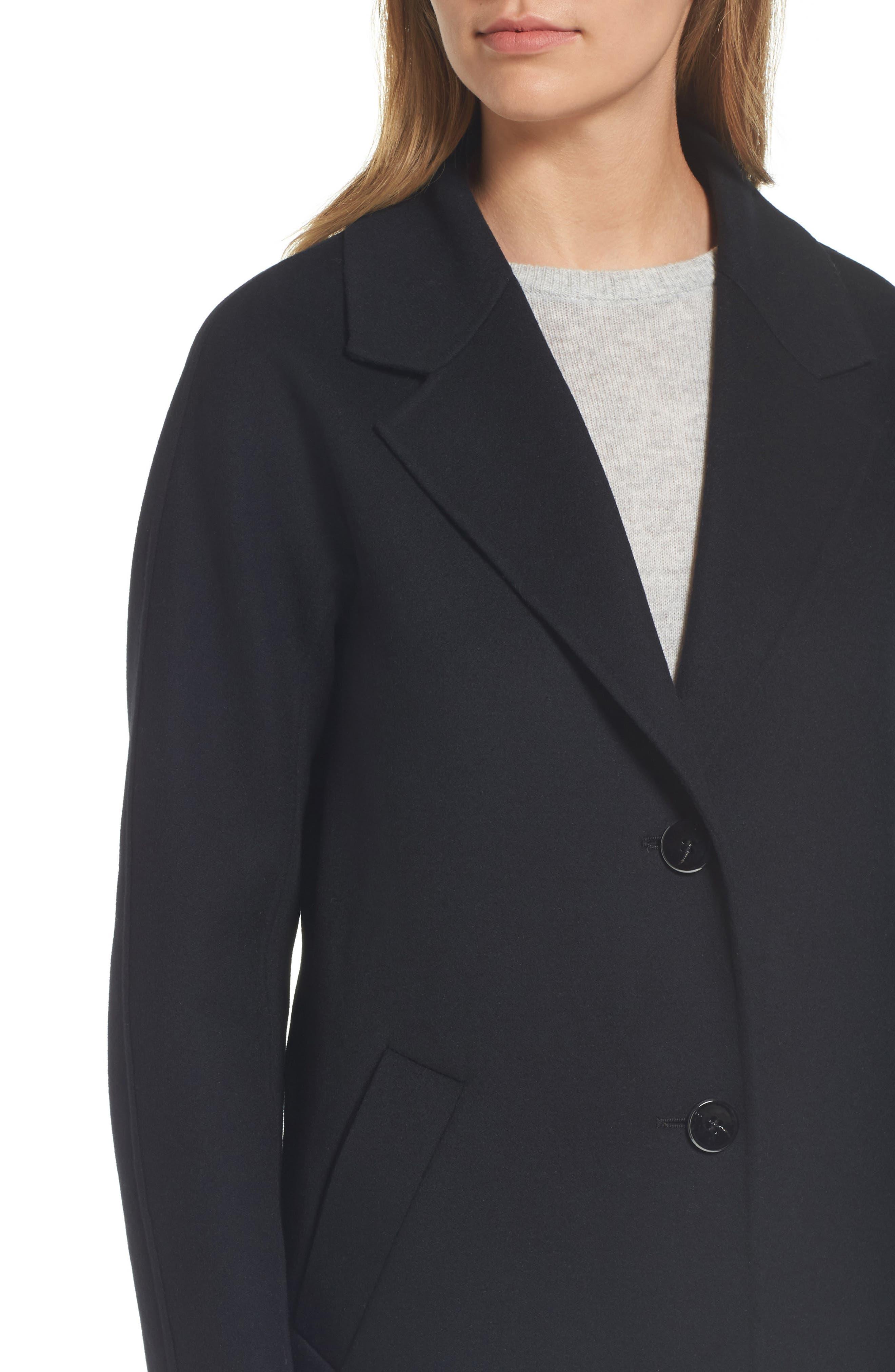 Adriana Wool Reefer Coat,                             Alternate thumbnail 4, color,                             001