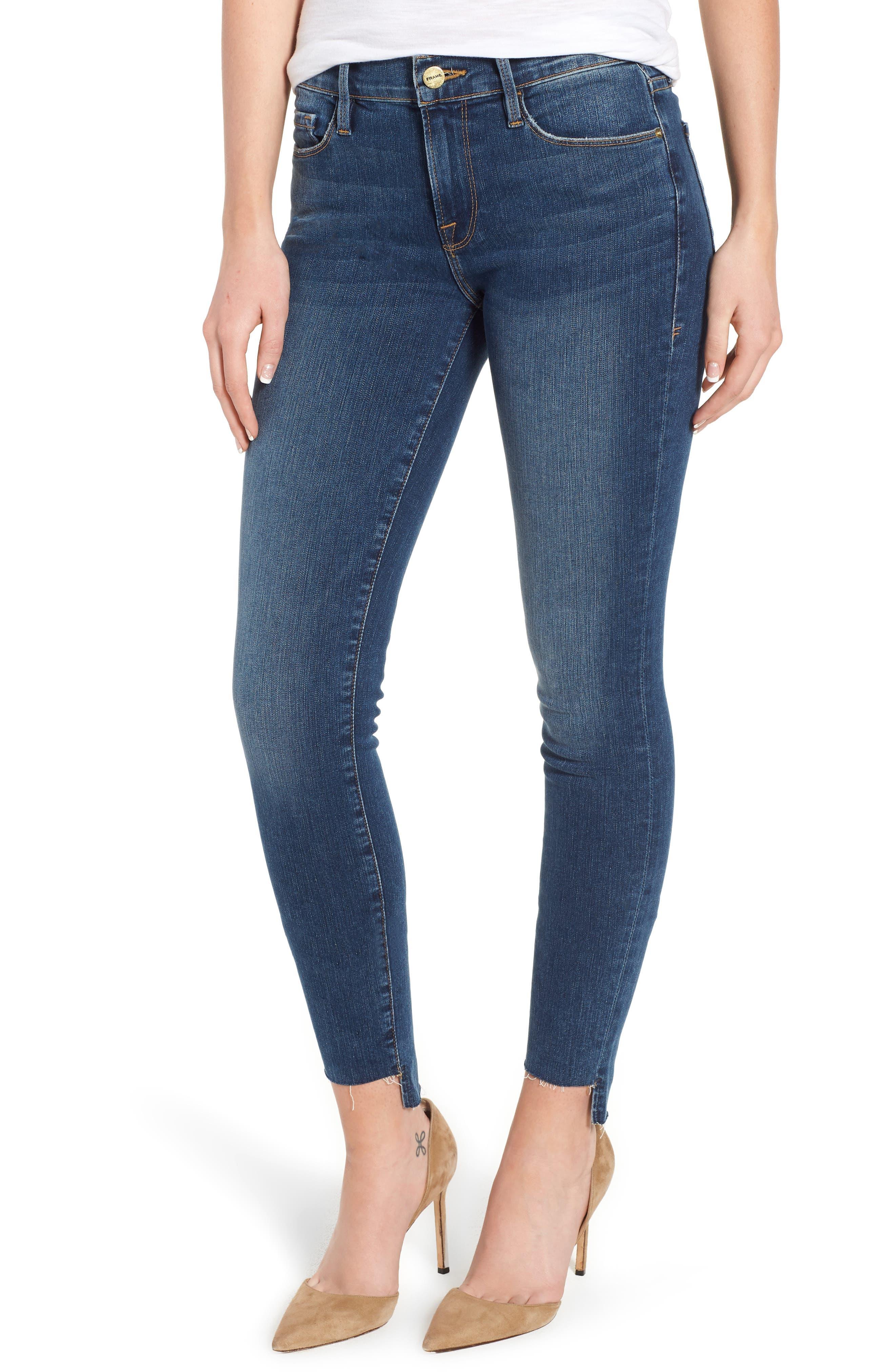 Le Skinny de Jeanne Raw Step Hem Skinny Jeans,                             Main thumbnail 1, color,                             WOODBINE
