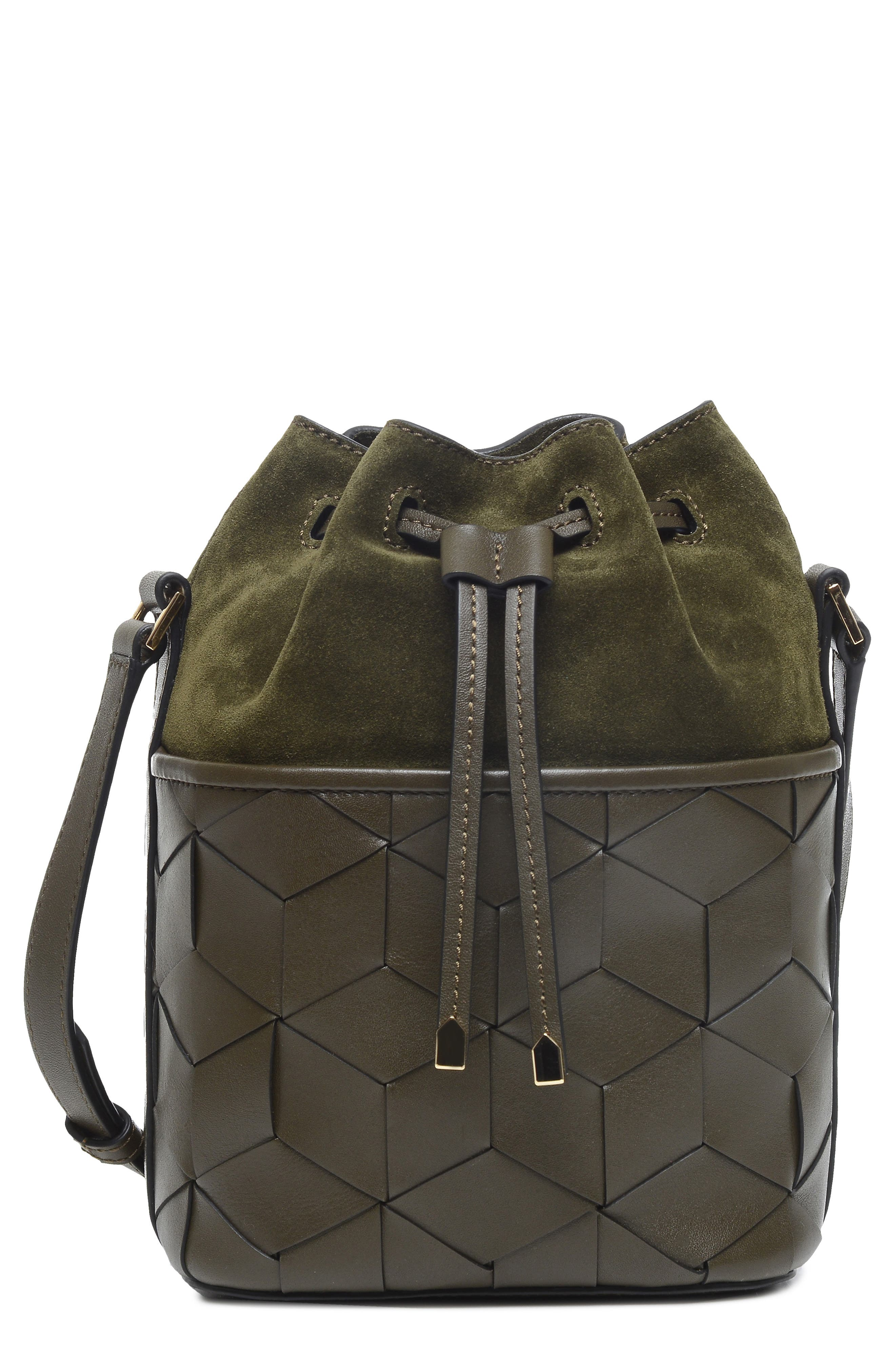 WELDEN Mini Gallivanter Leather Bucket Bag - Green in Dark Olive