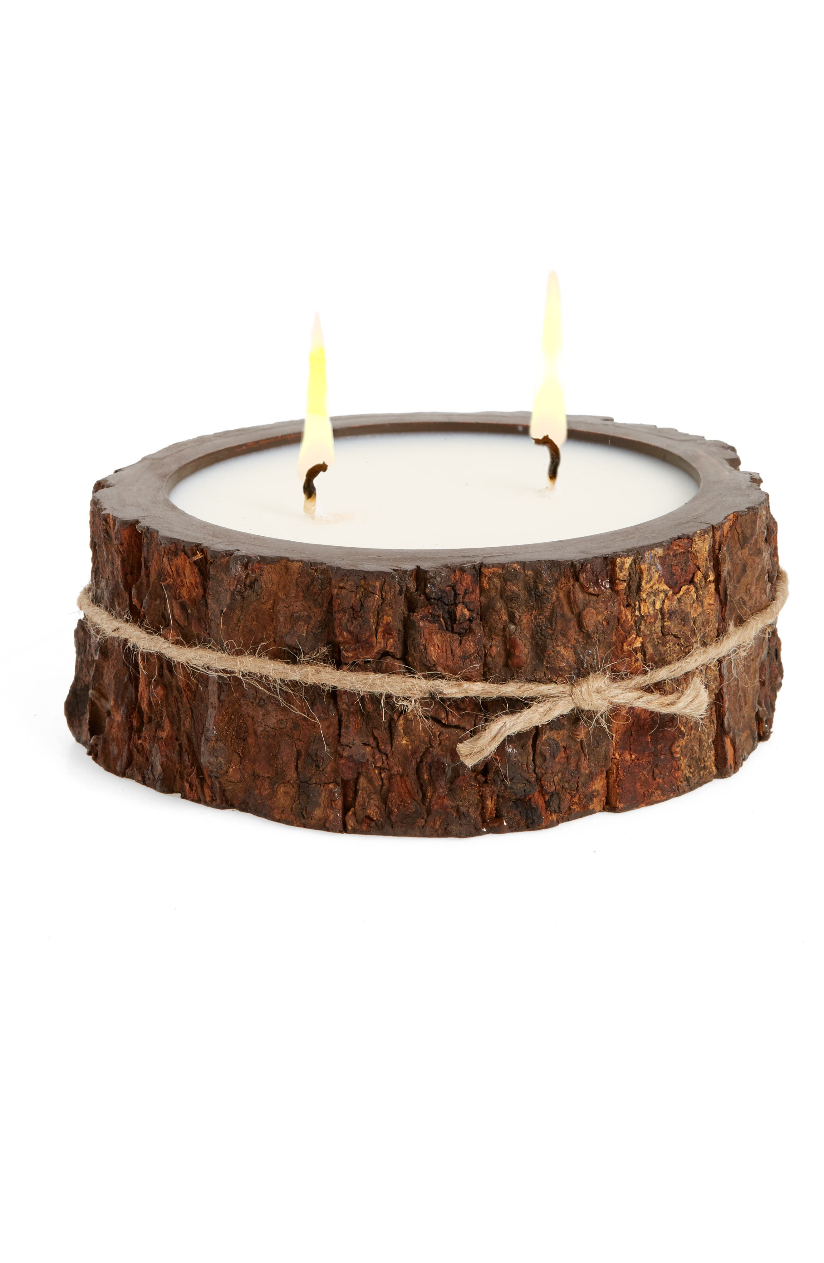 Double Wick Tree Bark Candle,                             Main thumbnail 1, color,                             203