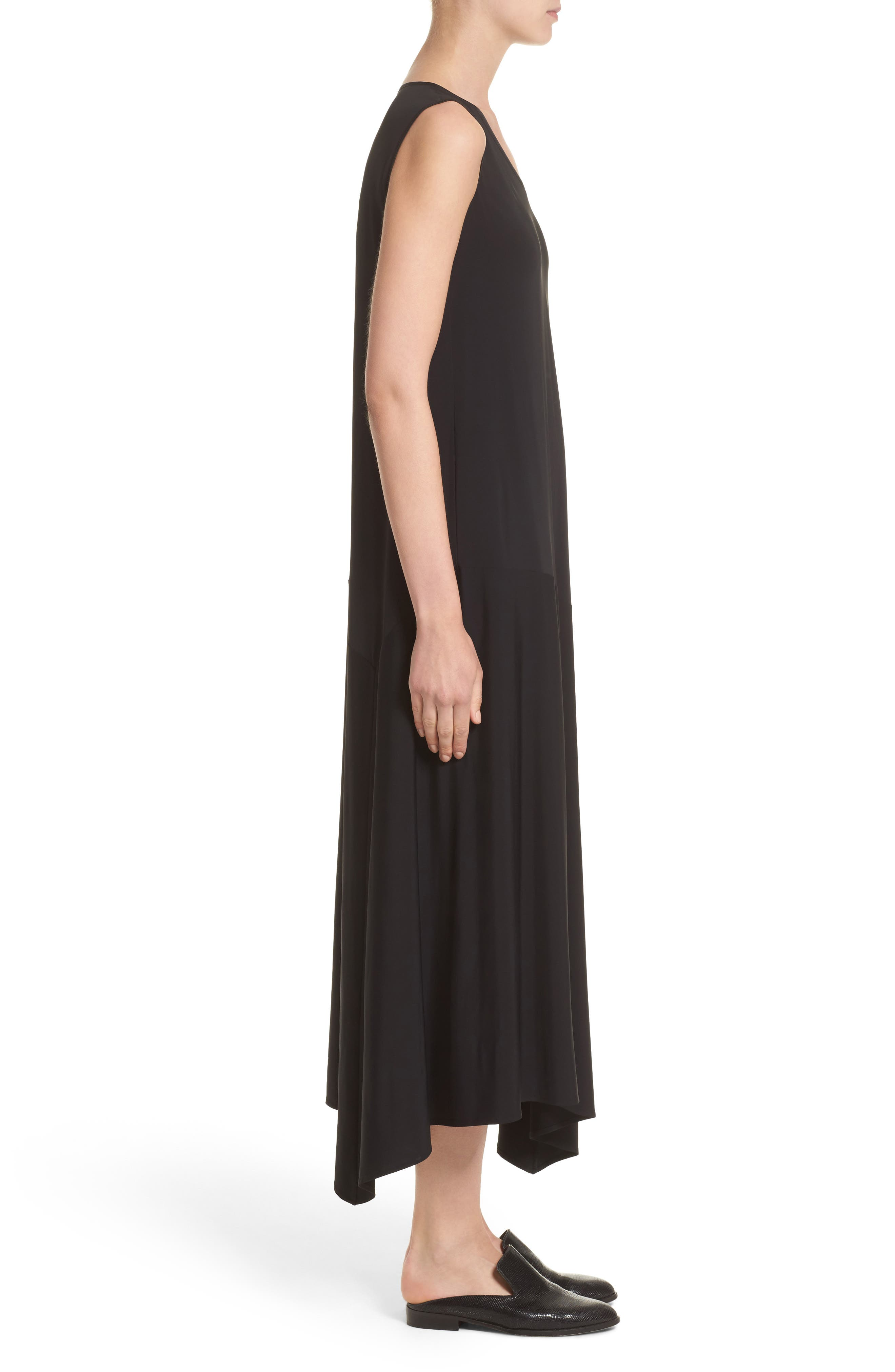 Cultivated Crepe Jersey Asymmetrical Dress,                             Alternate thumbnail 3, color,                             001