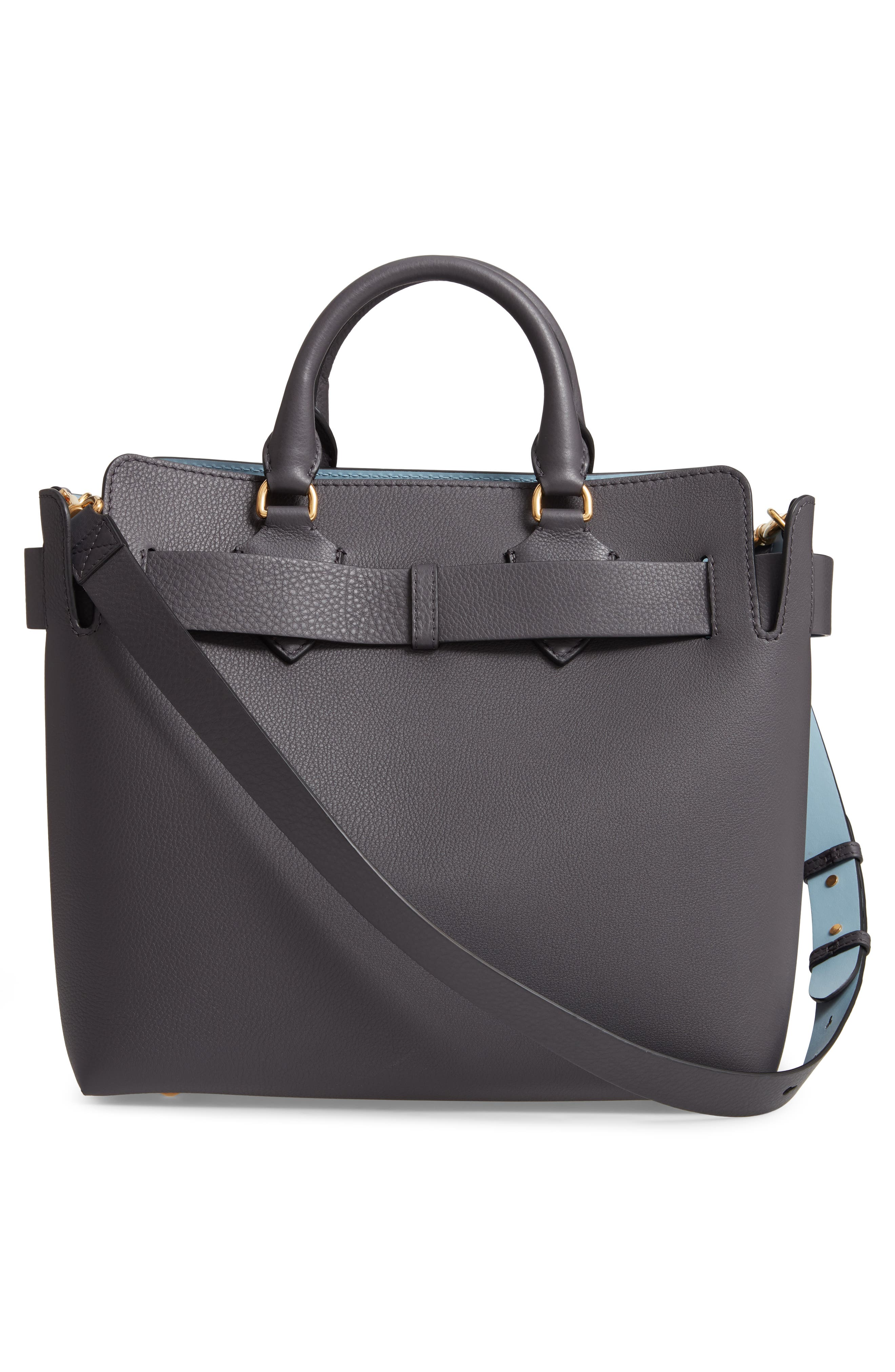 Medium Leather Belted Bag,                             Alternate thumbnail 3, color,                             CHARCOAL GREY