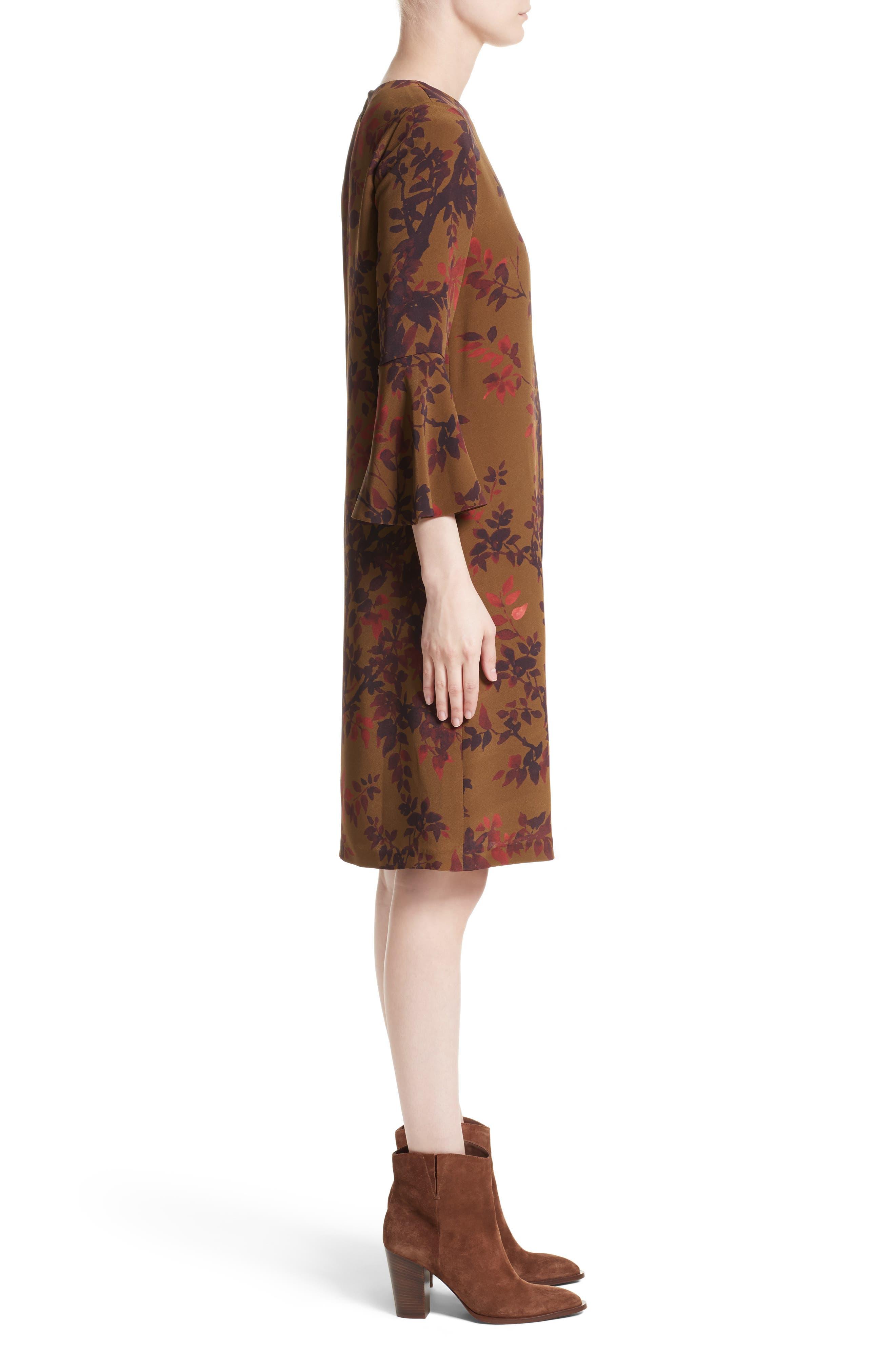 Sidra Floral Print Silk Dress,                             Alternate thumbnail 3, color,                             242