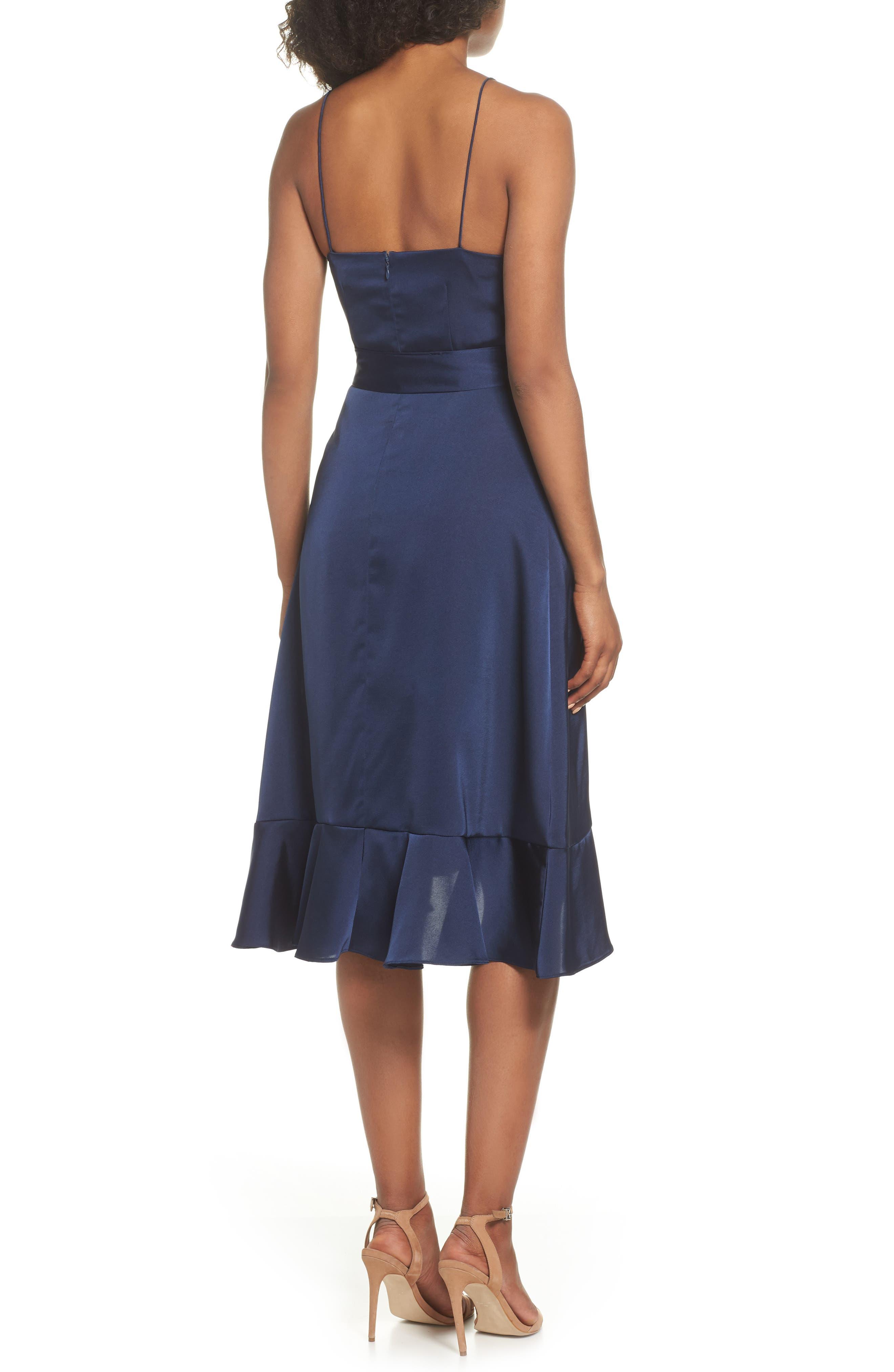 Marilyn Satin Faux Wrap Dress,                             Alternate thumbnail 2, color,                             NAVY