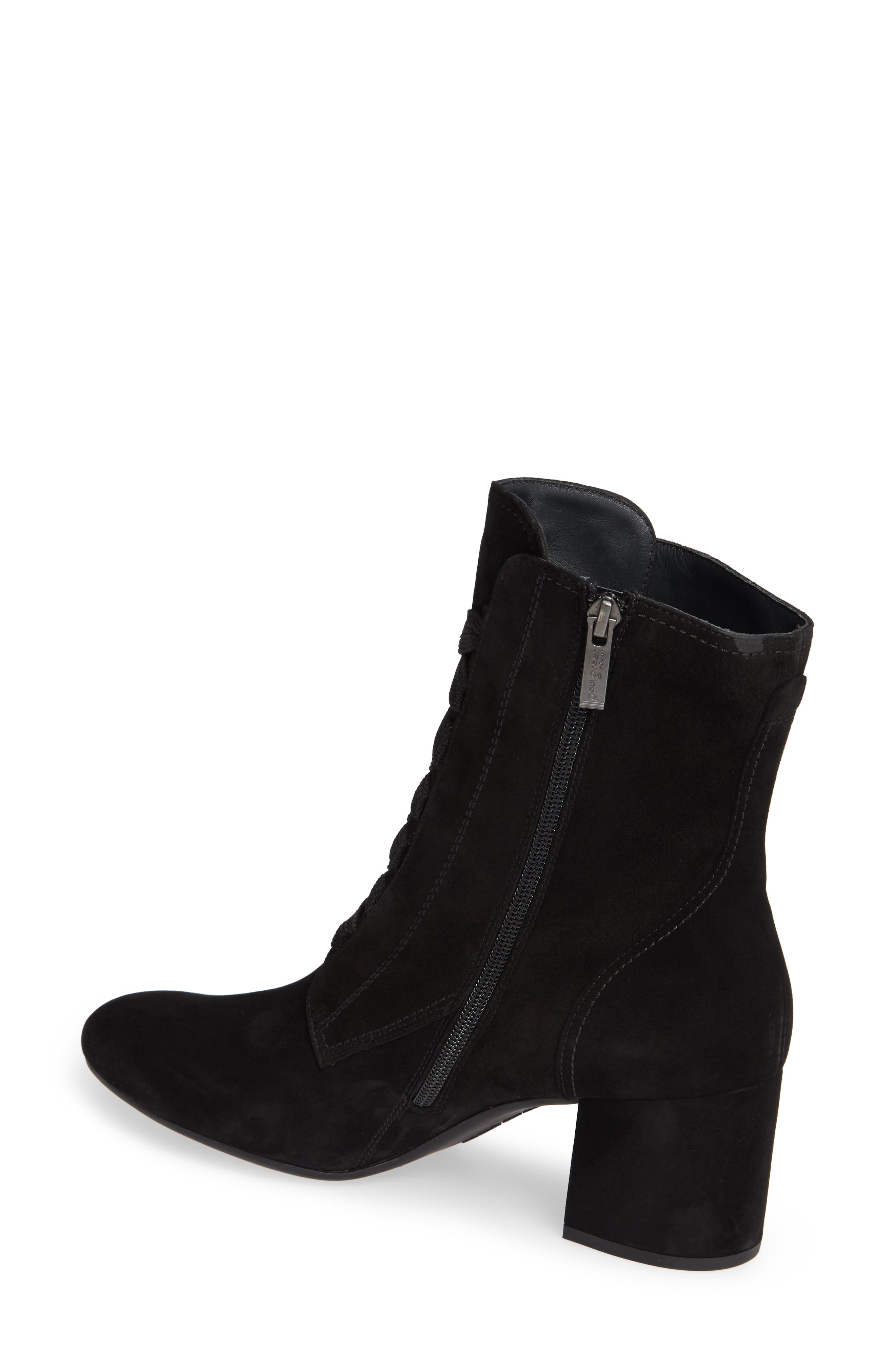 Tracy Lace-Up Bootie,                             Alternate thumbnail 2, color,                             BLACK SUEDE