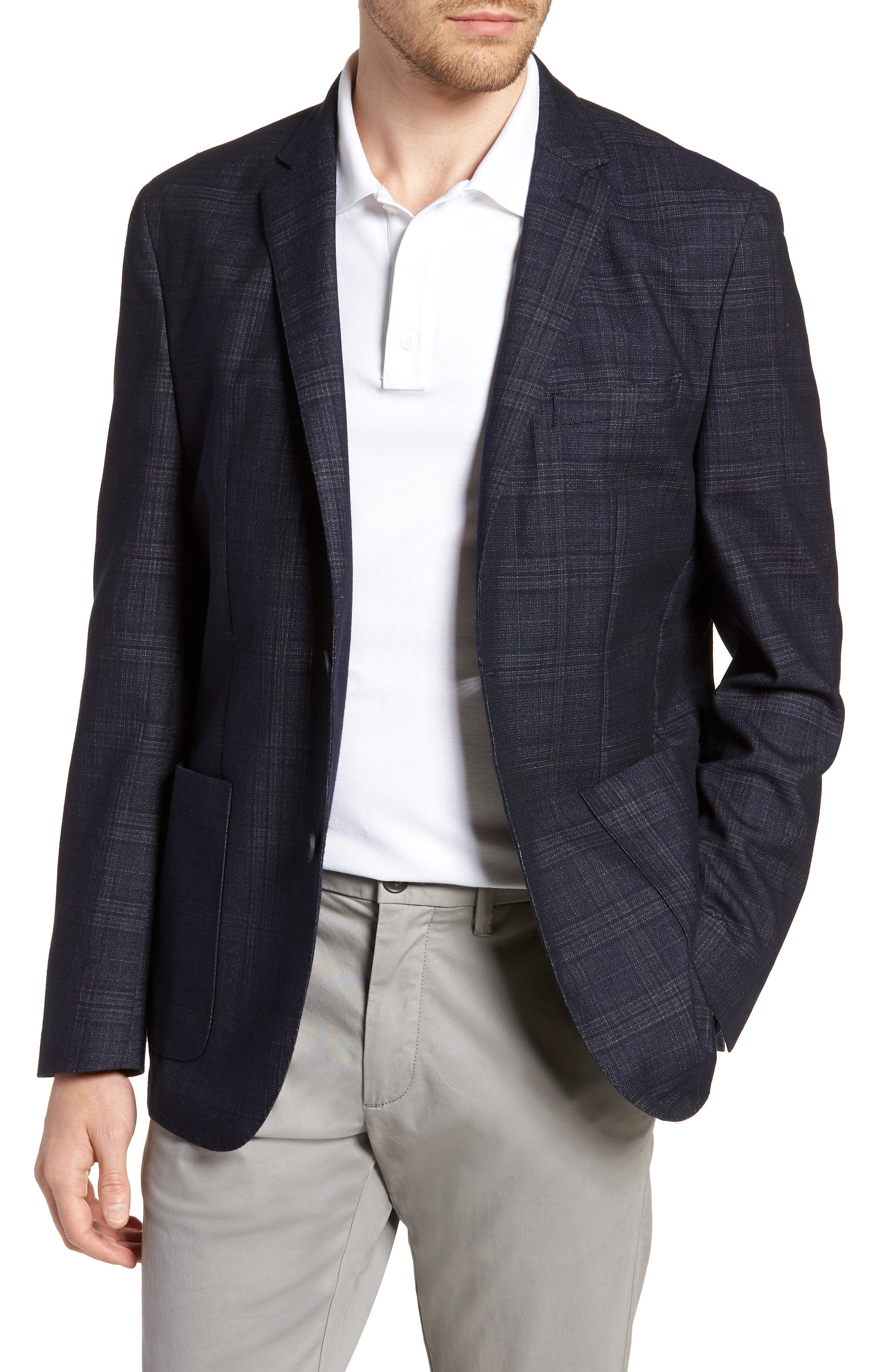 VINCE CAMUTO,                             Dell Aria Unconstructed Sport Coat,                             Main thumbnail 1, color,                             NAVY GRIN THRU