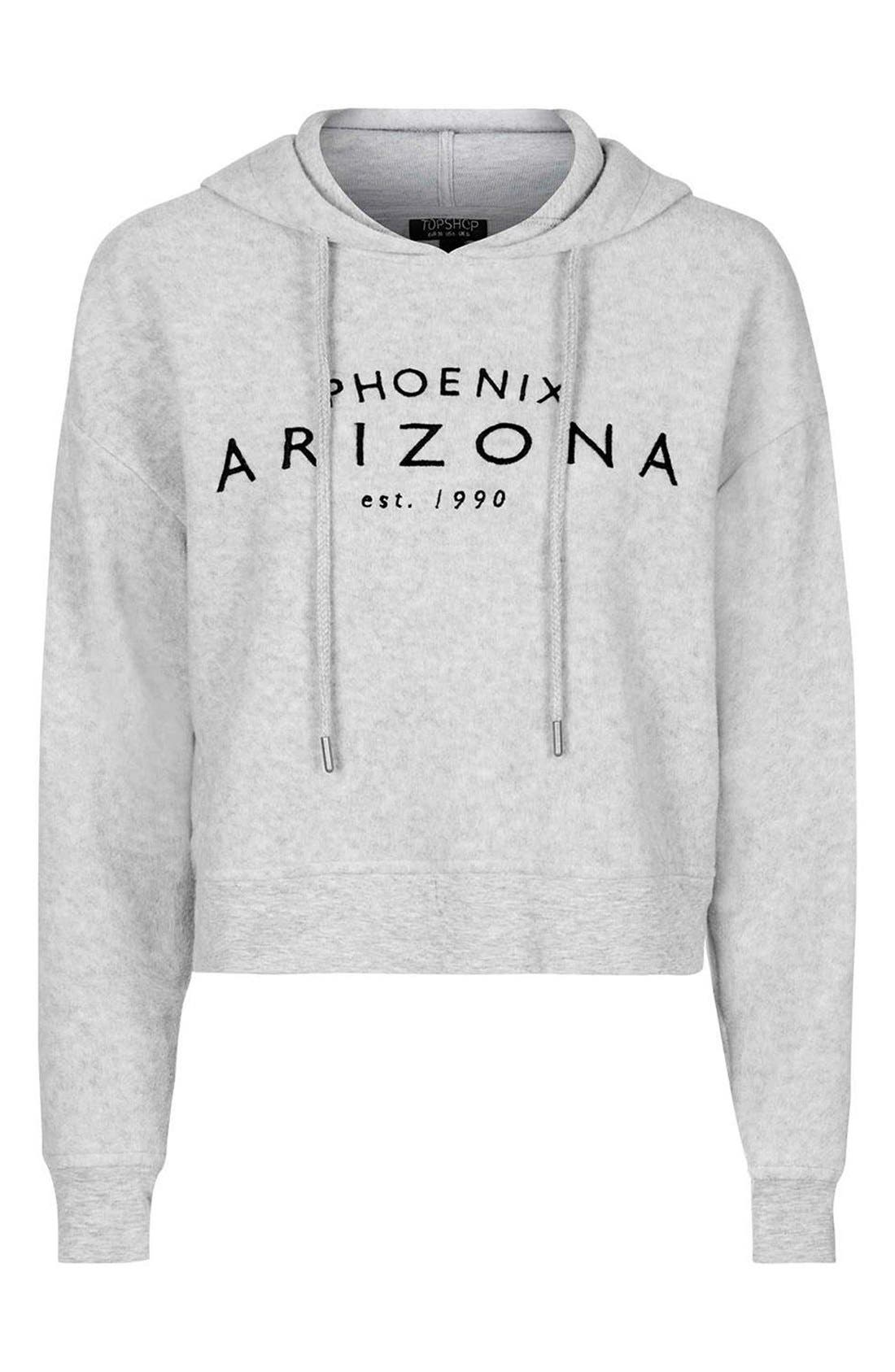 'Arizona' Embroidered Brushed Fleece Hoodie,                             Alternate thumbnail 4, color,                             050