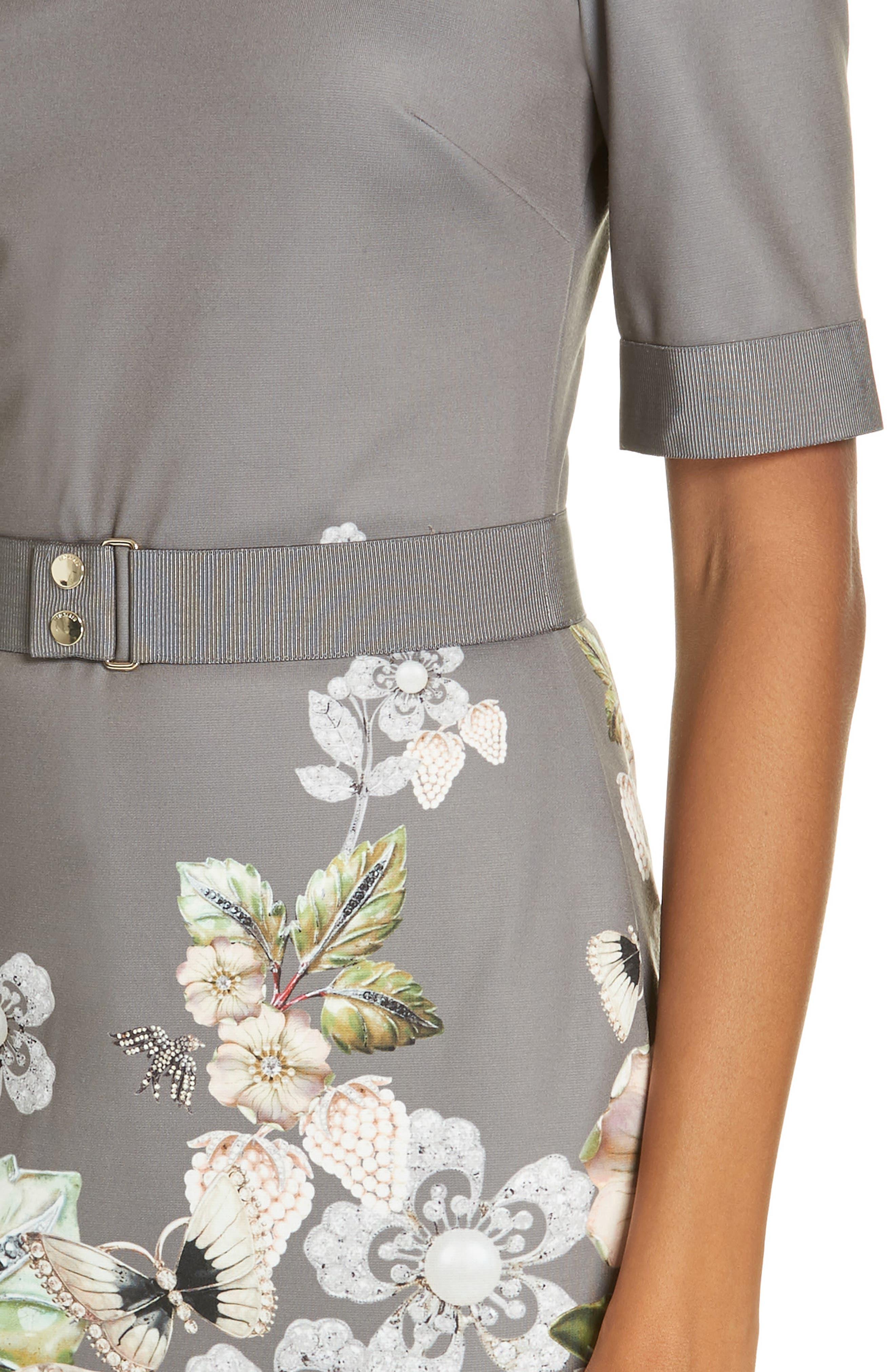 Wendala Gem Gardens Body-Con Dress,                             Alternate thumbnail 4, color,                             CHARCOAL