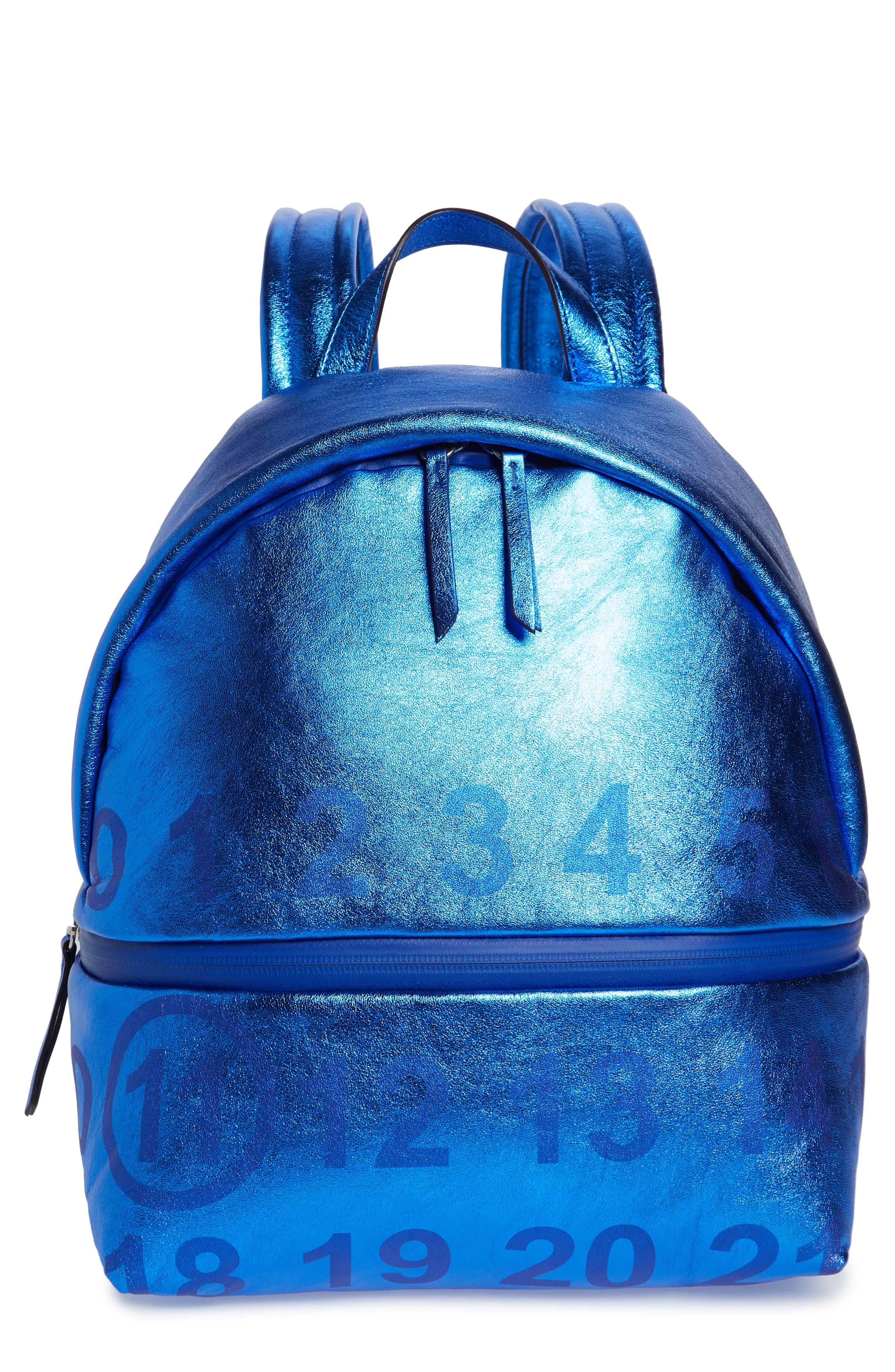 MAISON MARGIELA Medium Number Print Backpack, Main, color, DAZZLING BLUE