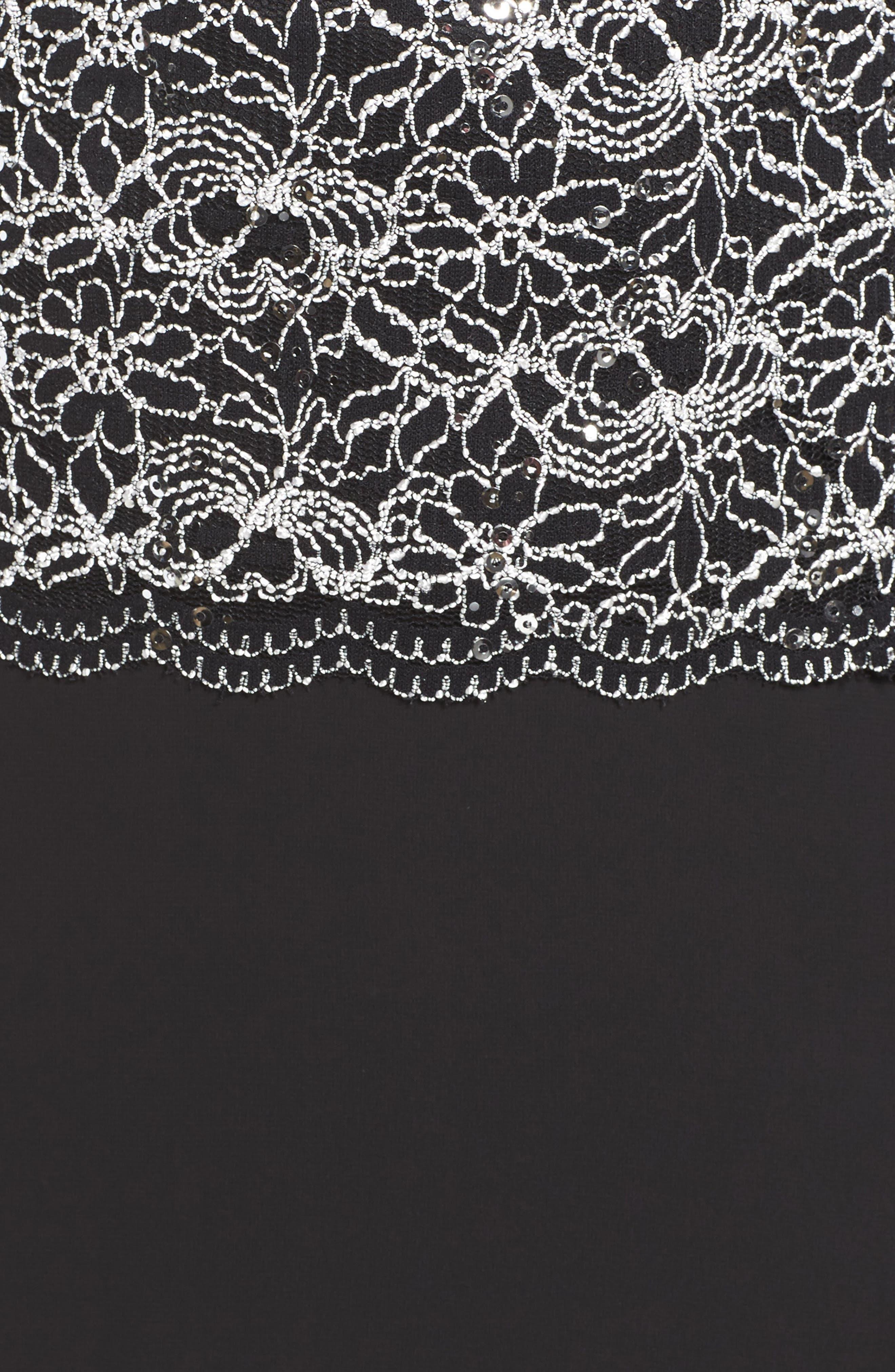 ALEX EVENINGS,                             Mock Two-Piece Lace & Chiffon A-Line Gown,                             Alternate thumbnail 5, color,                             006