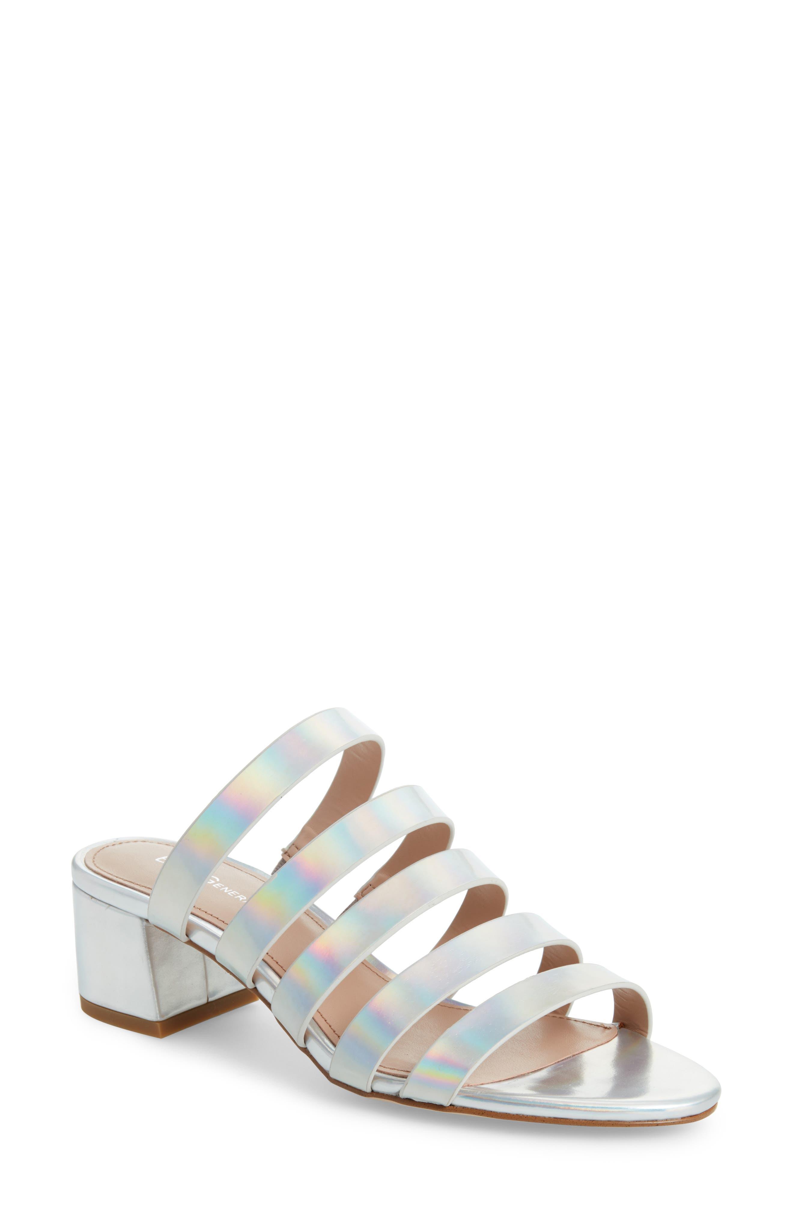 Frankie Slide Sandal,                         Main,                         color, IRIDESCENT SILVER