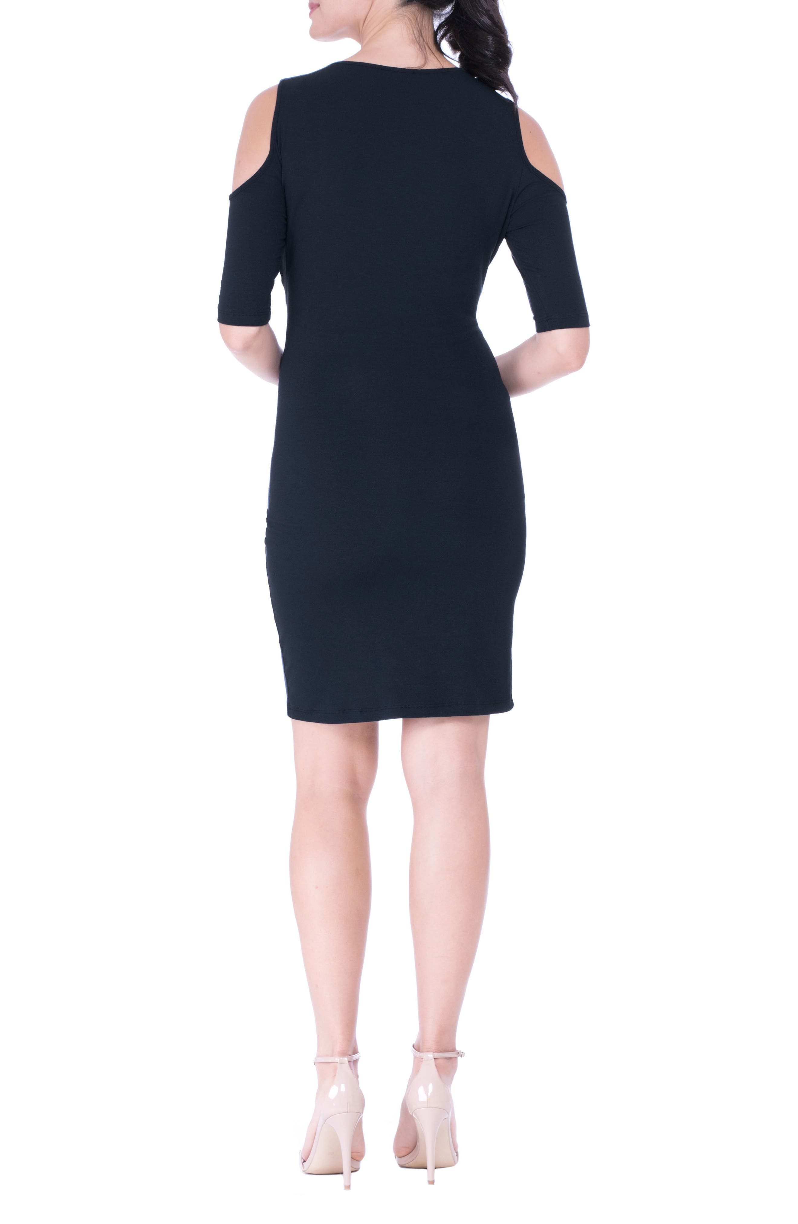 Cold Shoulder Body-Con Maternity Dress,                             Alternate thumbnail 2, color,