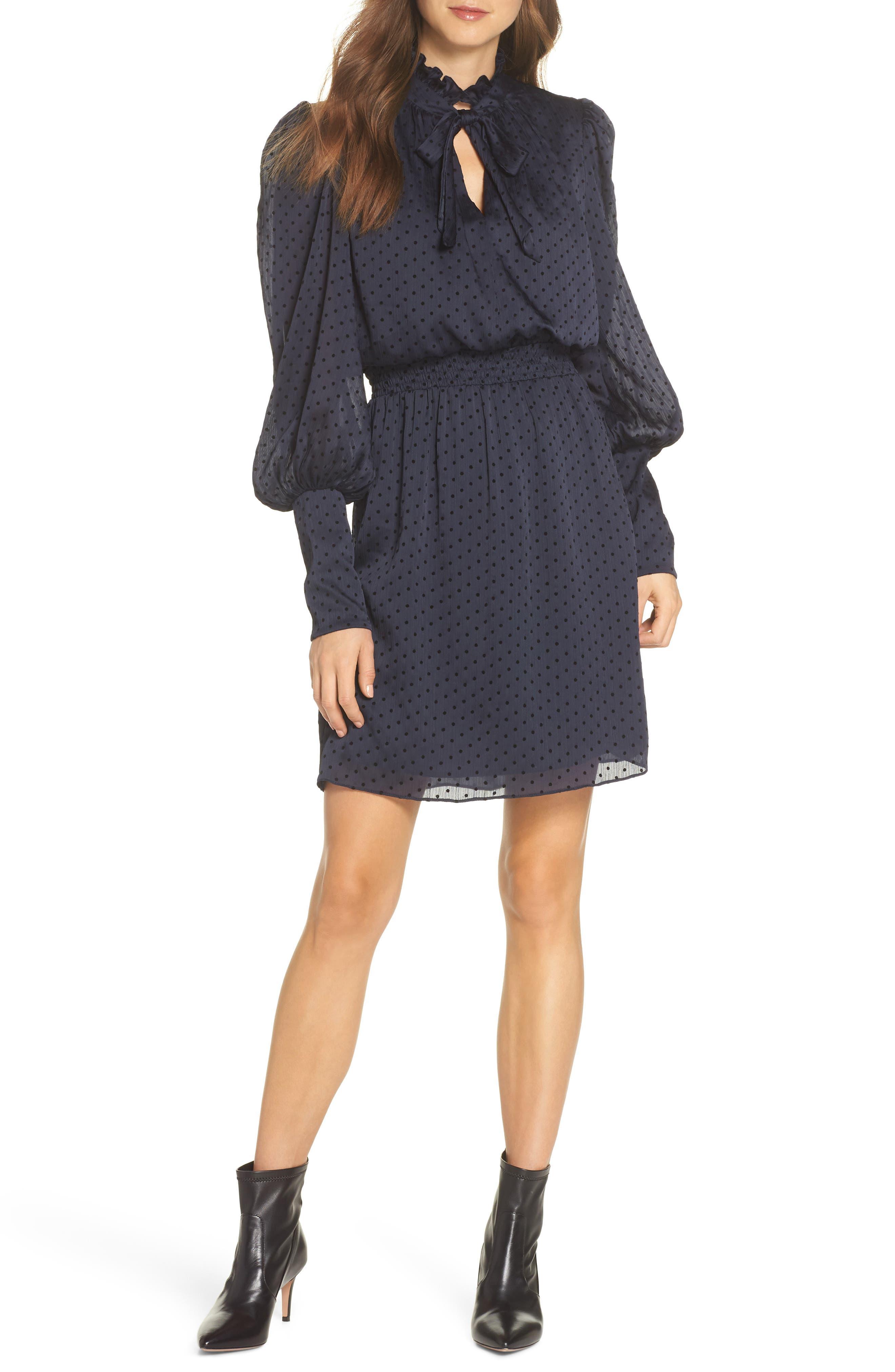 Julia Jordan Tie Neck Dot Chiffon Dress, Blue