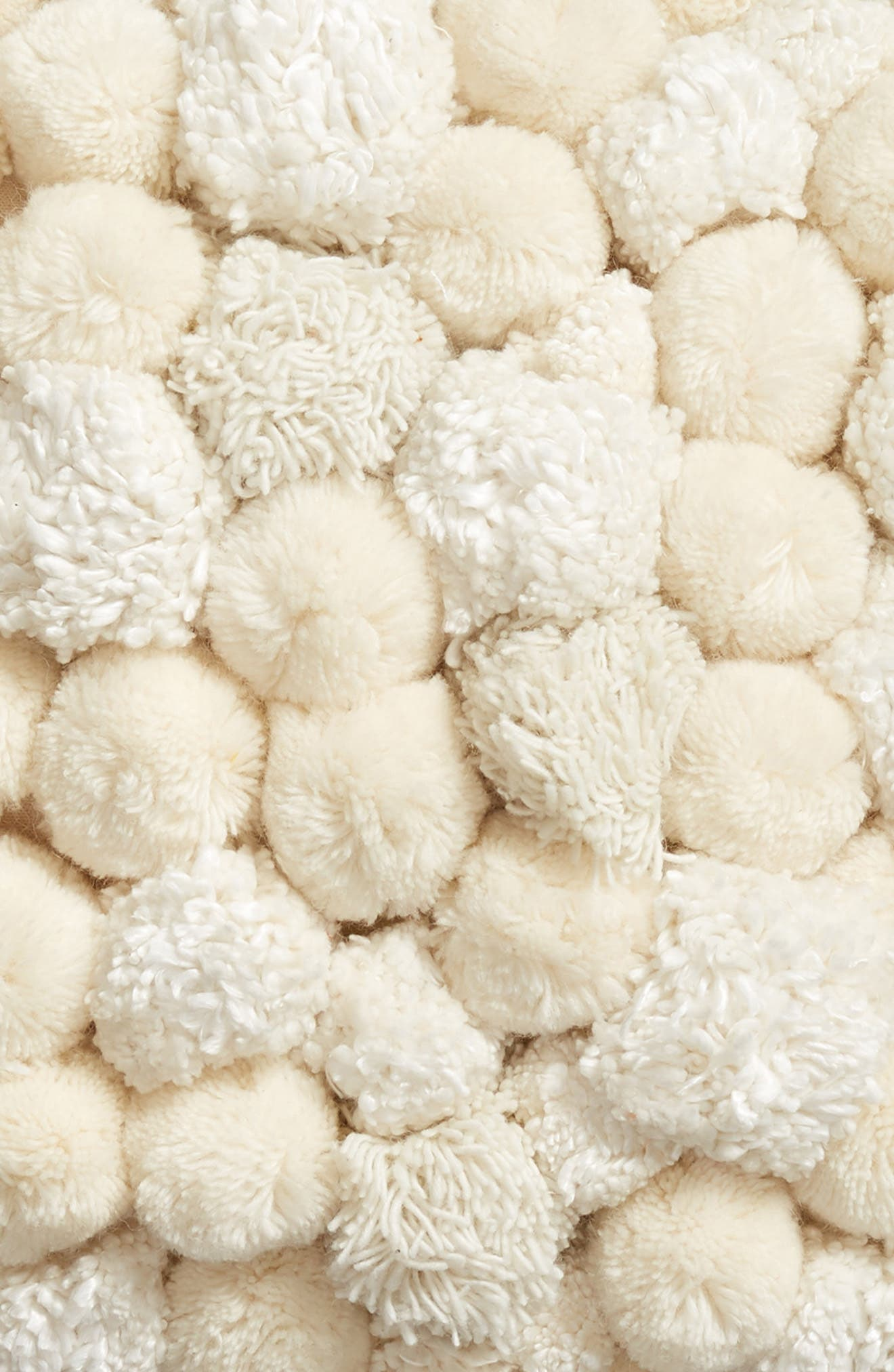 Pom Accent Pillow,                             Alternate thumbnail 3, color,                             IVORY
