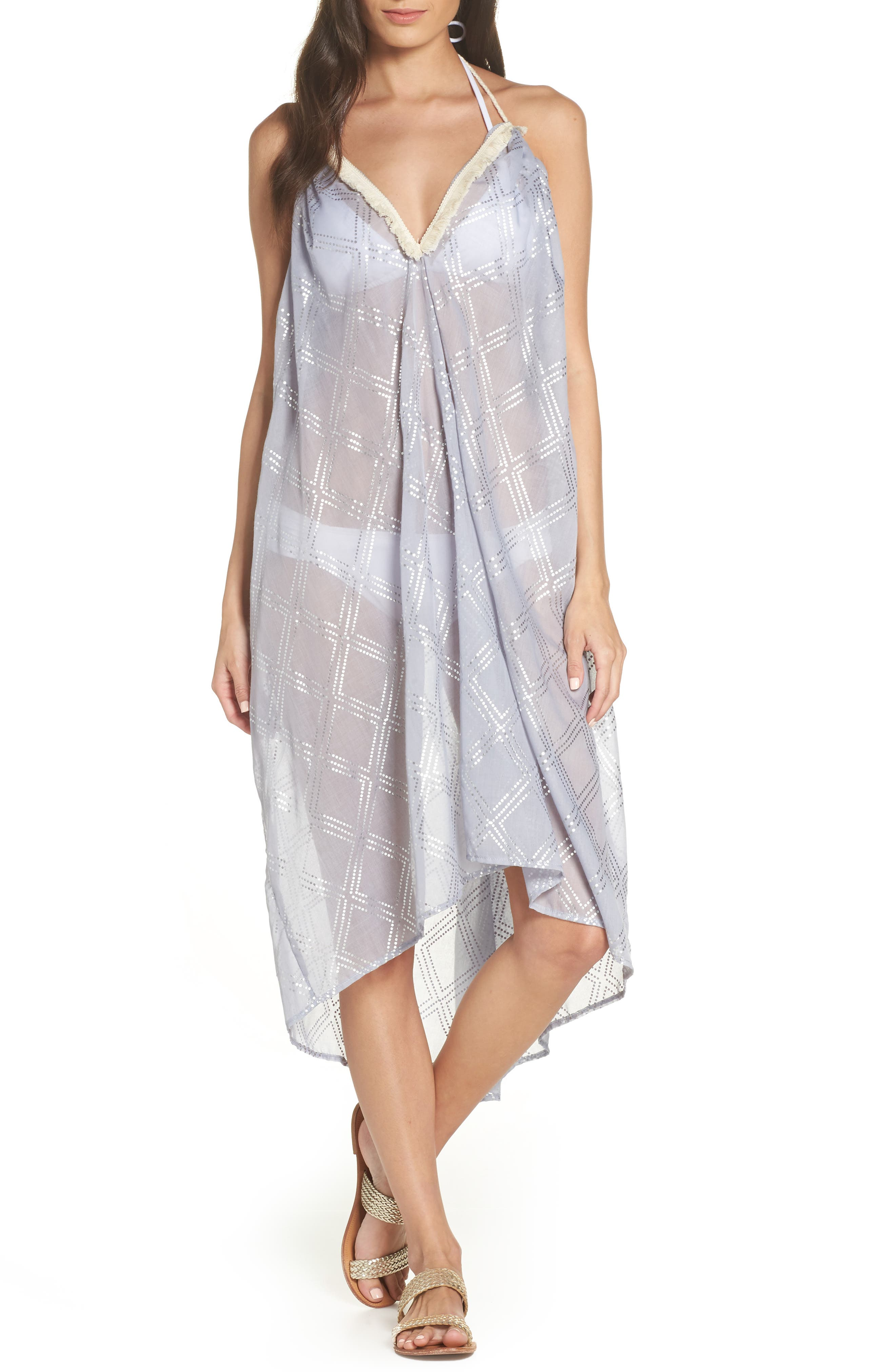 SURF GYPSY Metallic Print Cover-Up Dress in Blue Metallic
