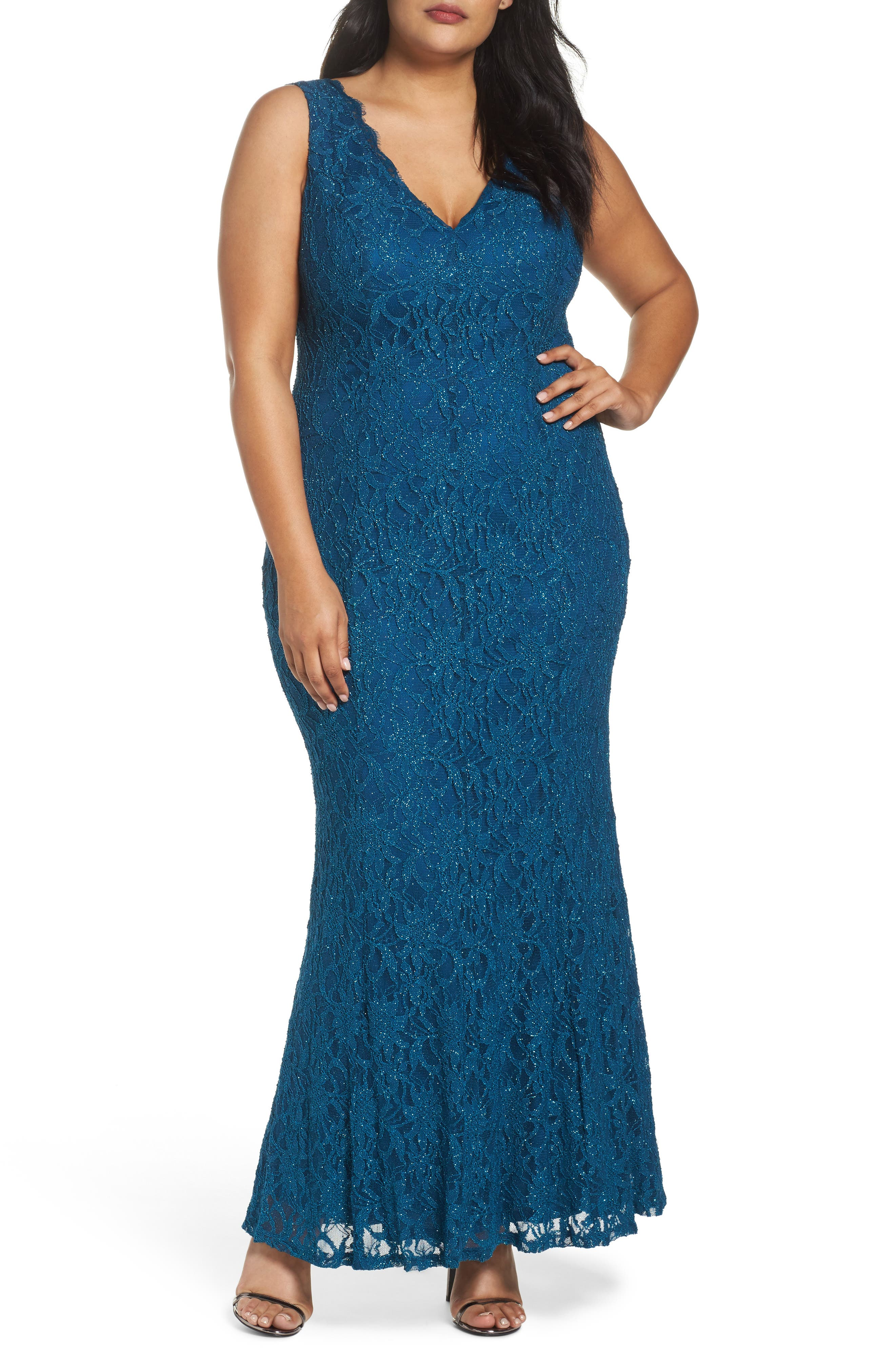 Illusion Lace A-Line Gown,                         Main,                         color, TEAL