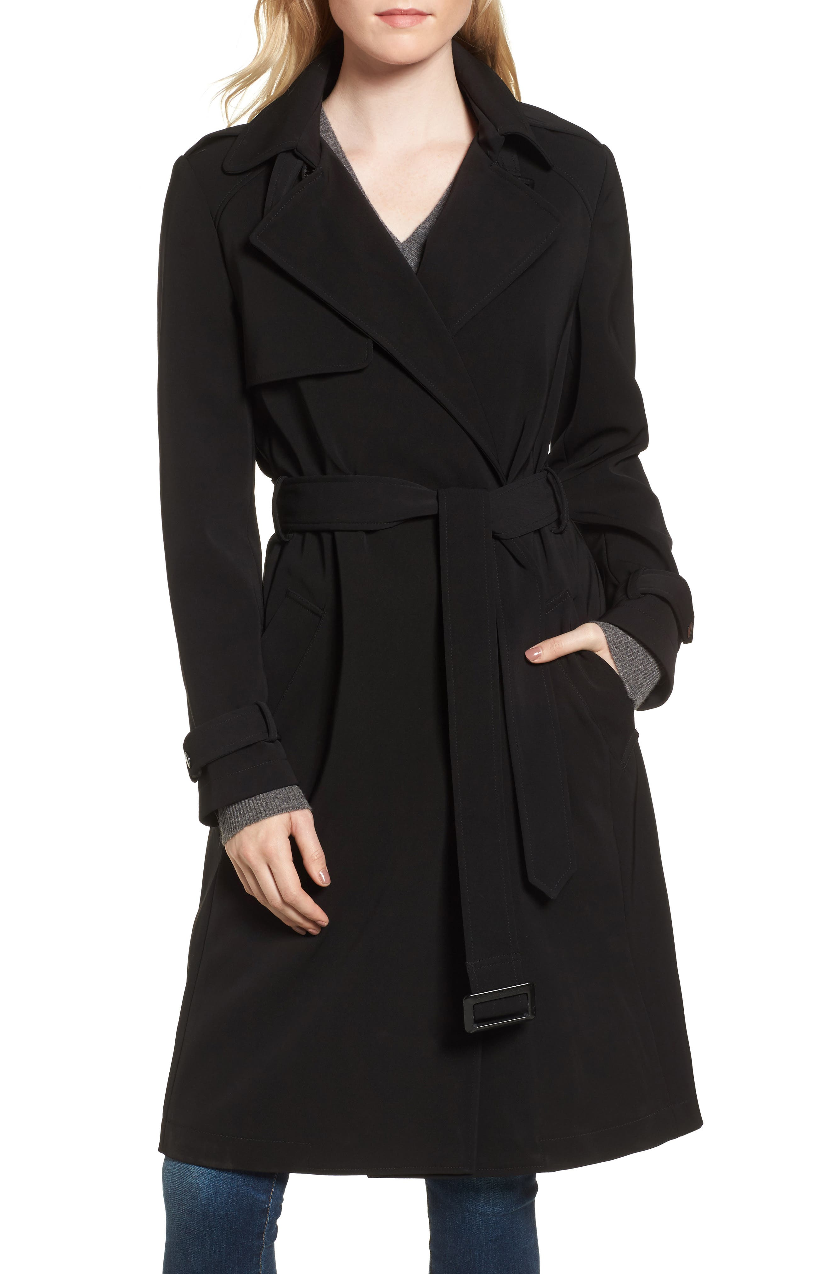 DKNY French Twill Water Resistant Trench Coat,                         Main,                         color, 001
