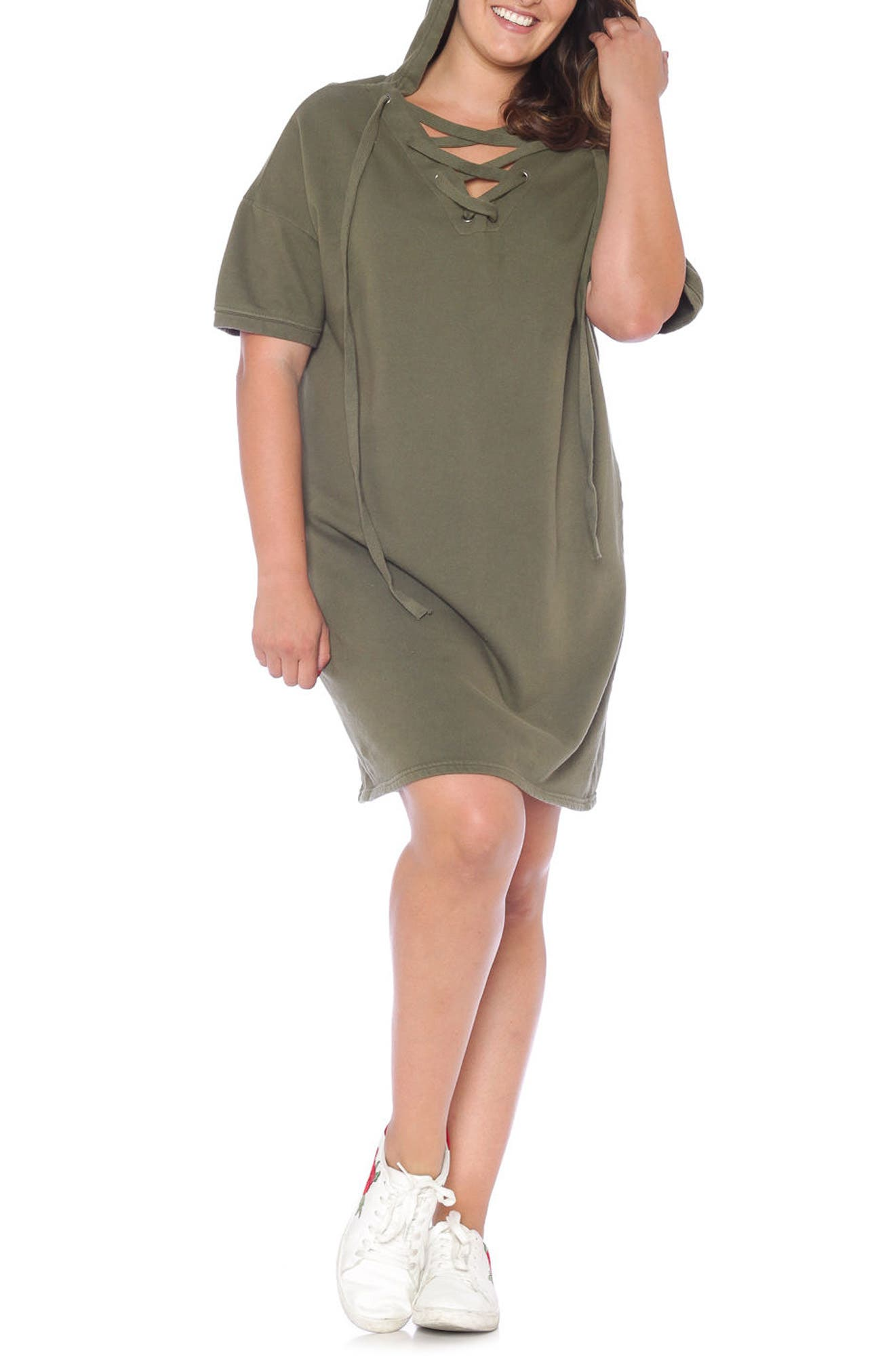 Lace-Up Hoodie Dress,                             Alternate thumbnail 8, color,
