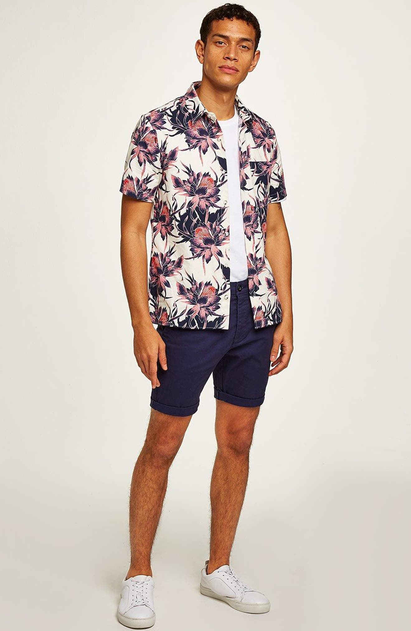 Floral Print Shirt,                             Alternate thumbnail 5, color,                             100