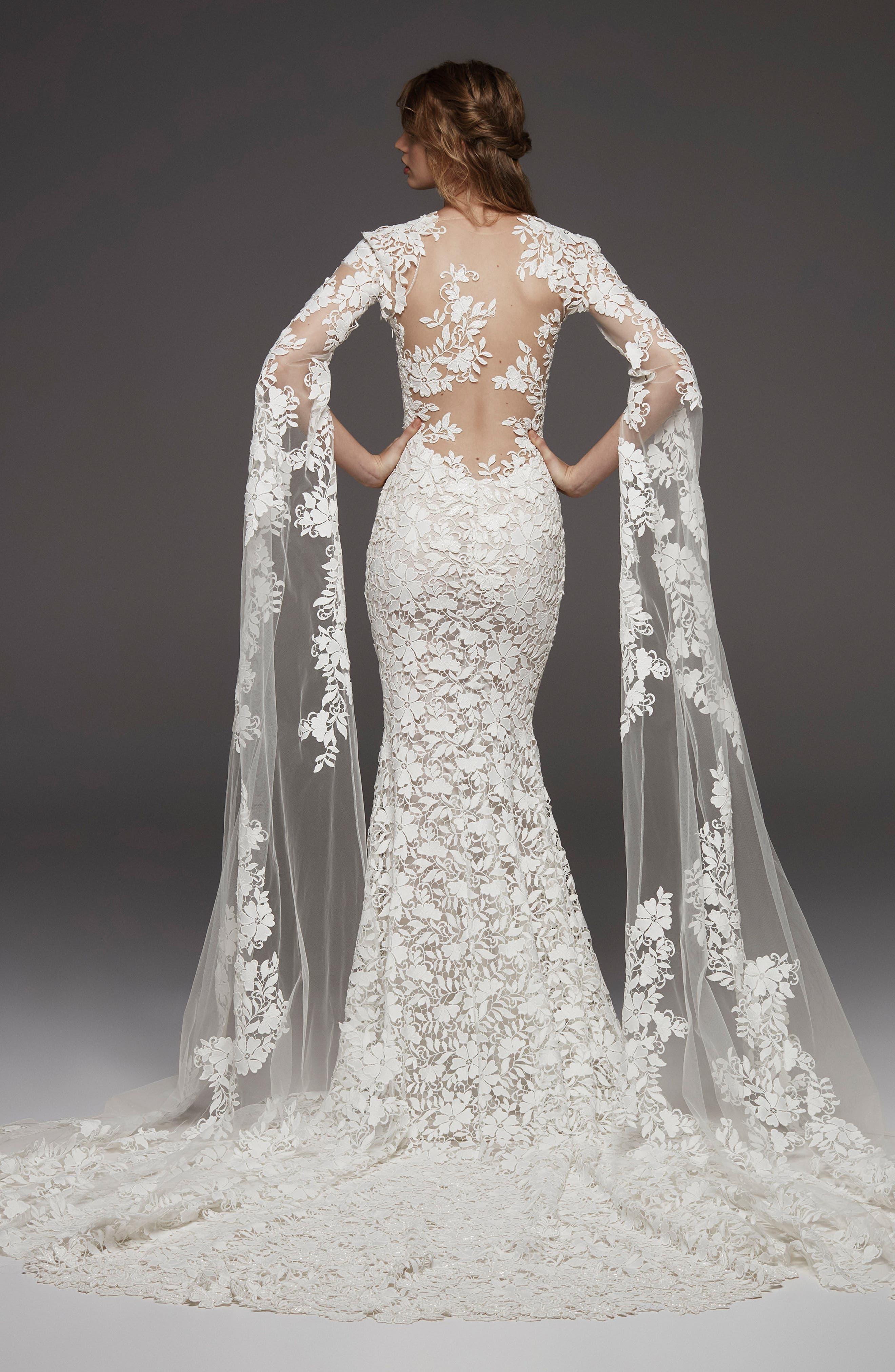 Altelier Pronovias Himalaya Sleeveless Lace Gown,                             Alternate thumbnail 2, color,                             OFF WHITE