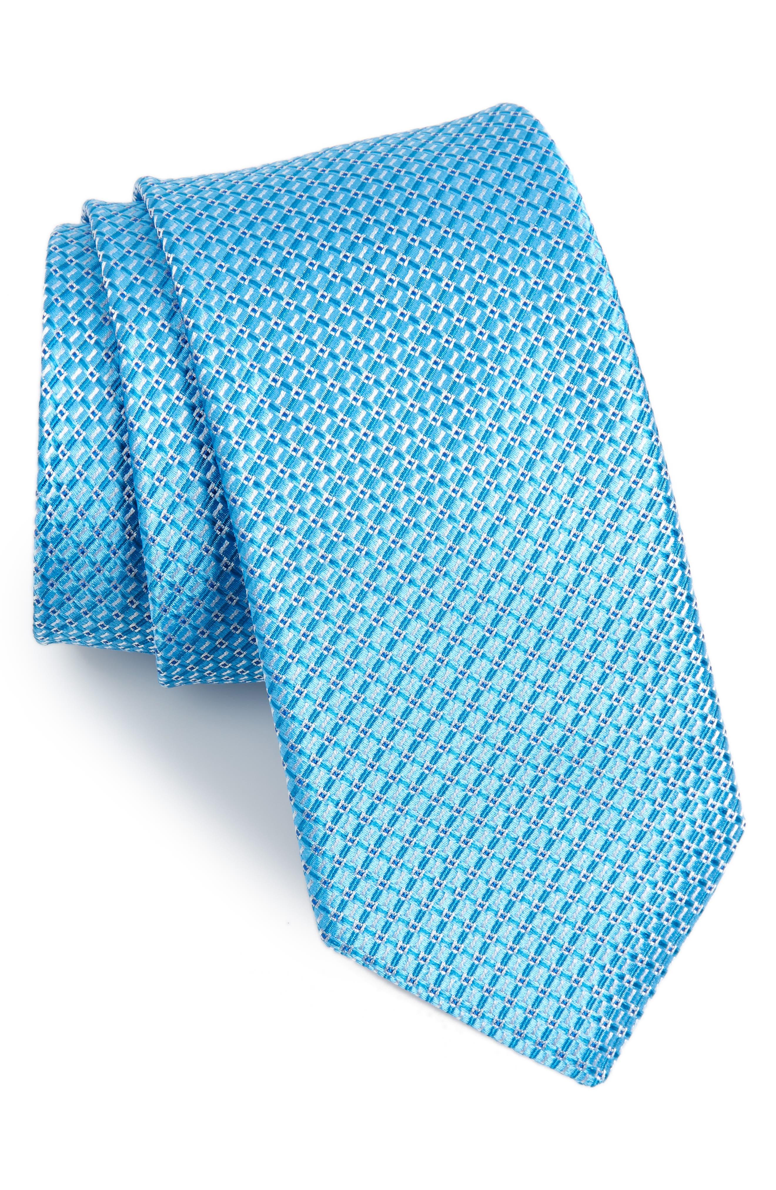 Grid Silk Tie,                             Main thumbnail 1, color,                             435