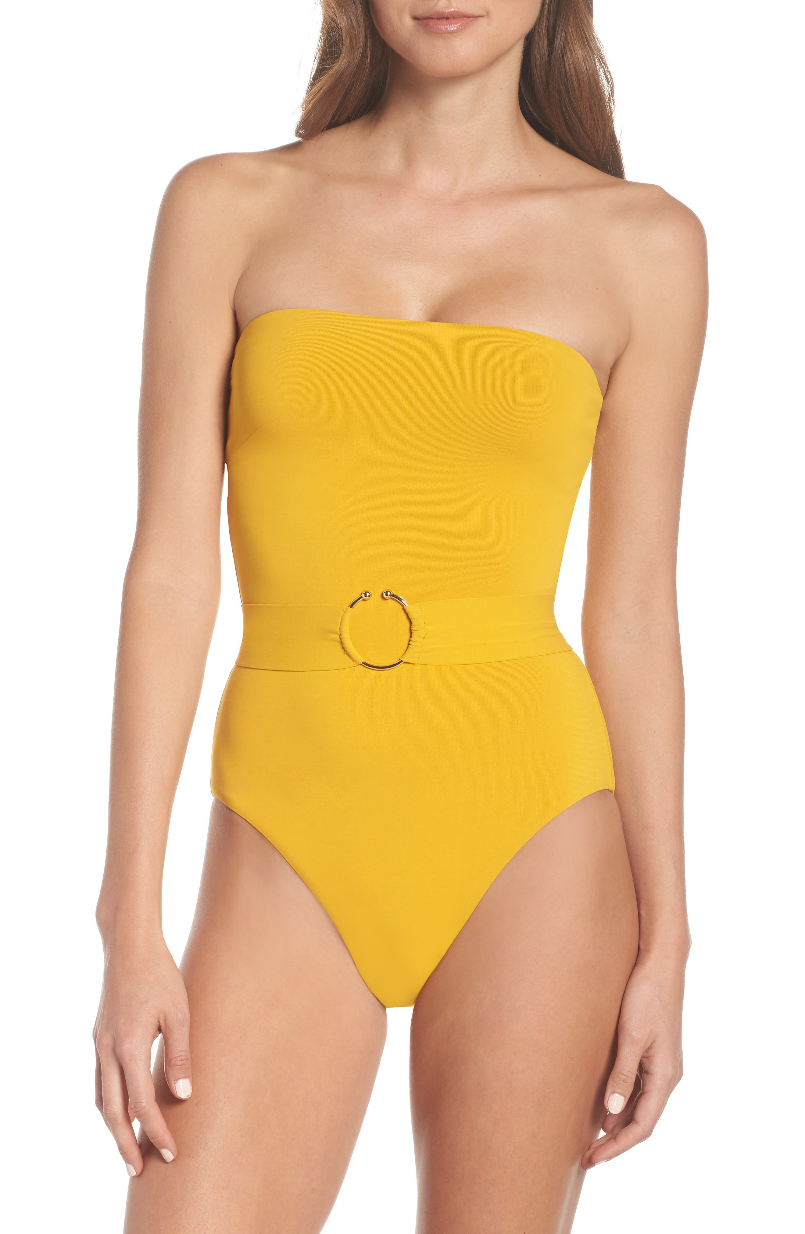 Robin Piccone Luca Belted One-Piece Swimsuit, Yellow